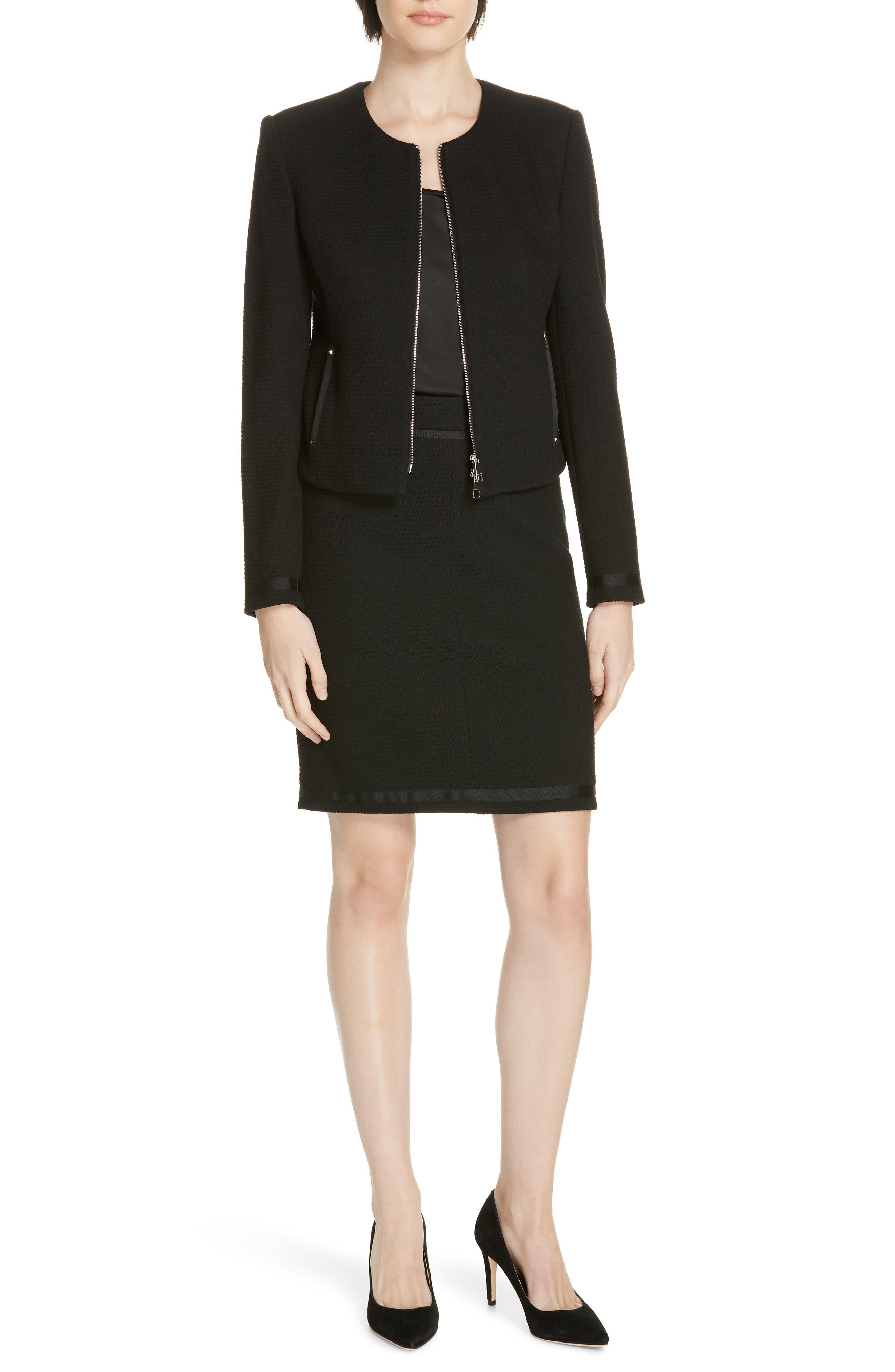 Kemio Textured Jersey Suit Jacket,                             Alternate thumbnail 7, color,                             BLACK