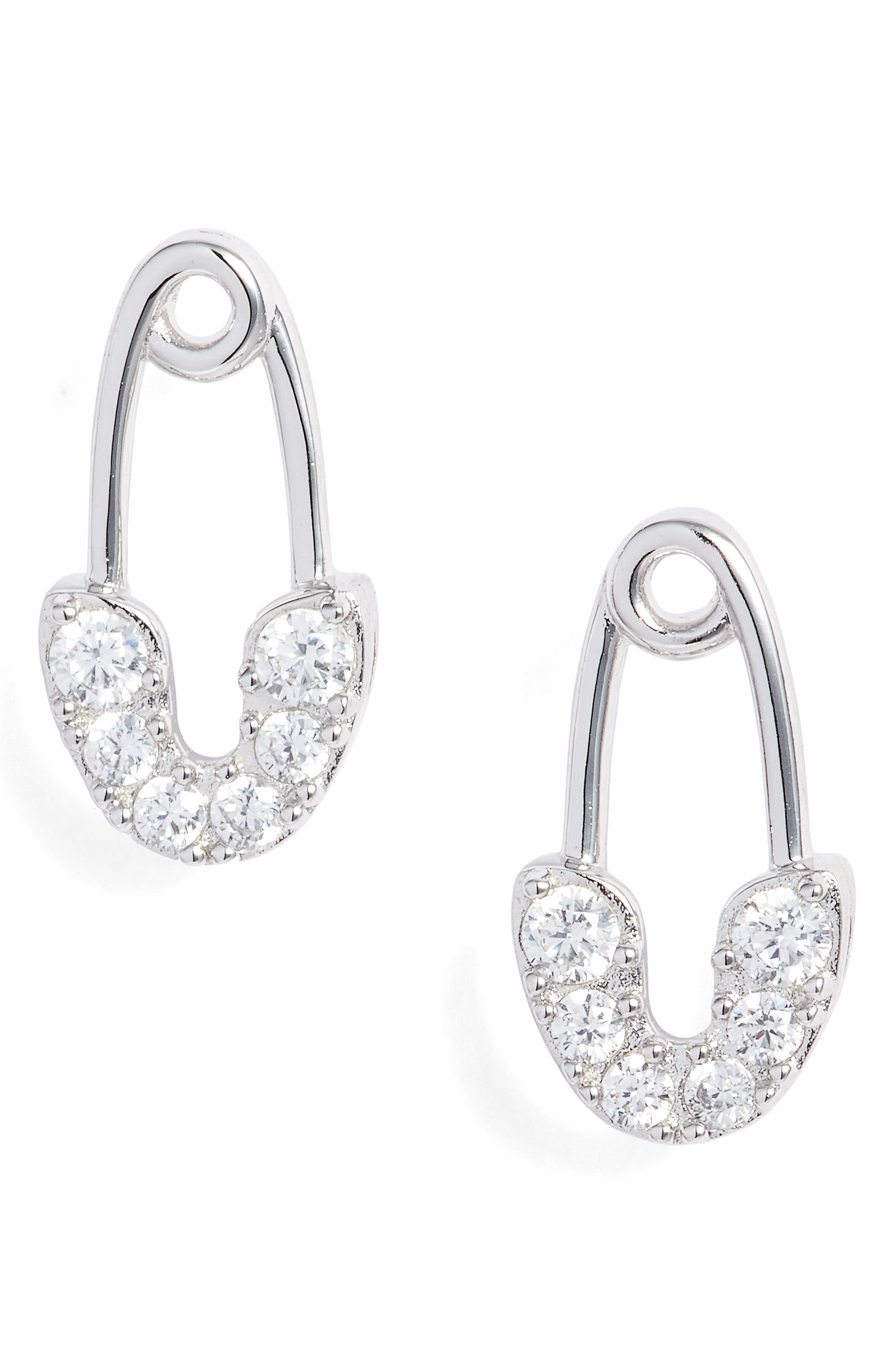 Reminisce Safety Pin Cubic Zirconia Stud Earrings,                             Main thumbnail 1, color,                             040