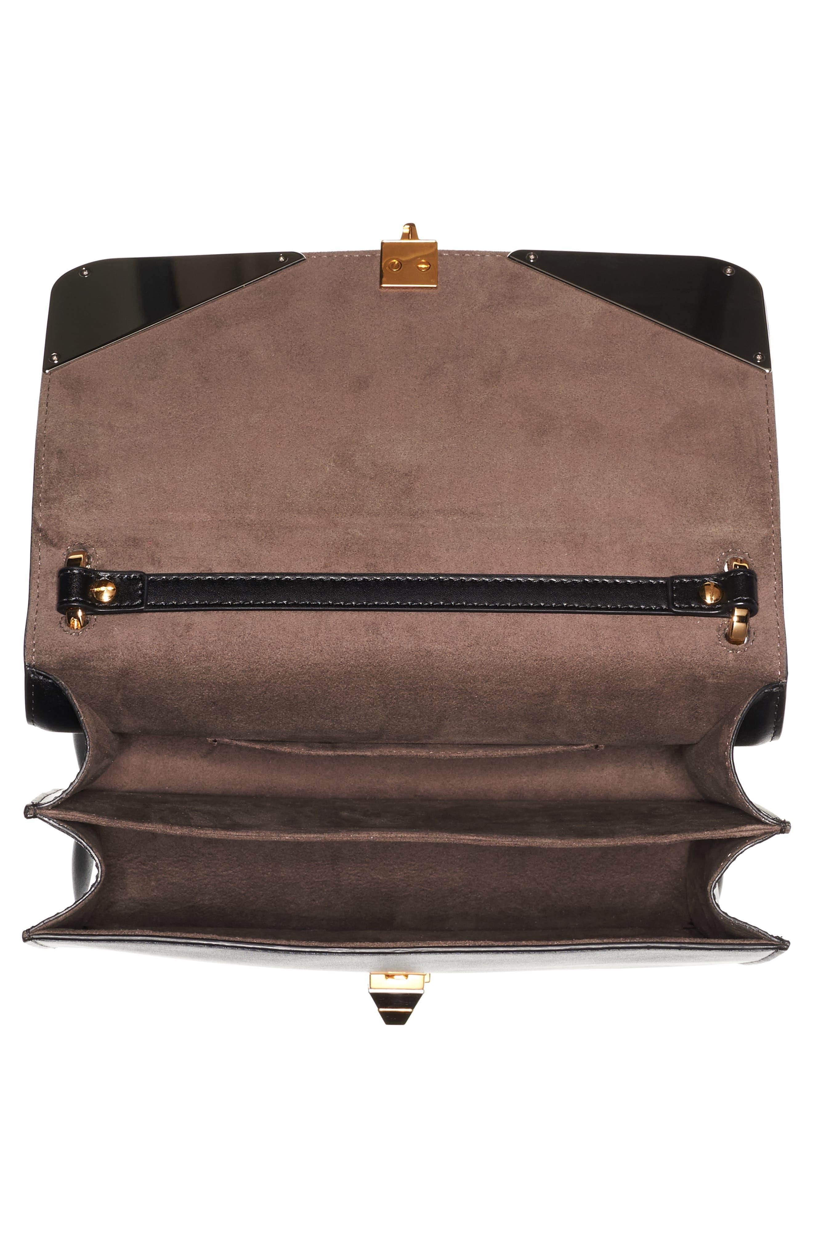 Kan I Monster Calfskin Leather Shoulder Bag,                             Alternate thumbnail 4, color,                             BLACK PALLADIUM