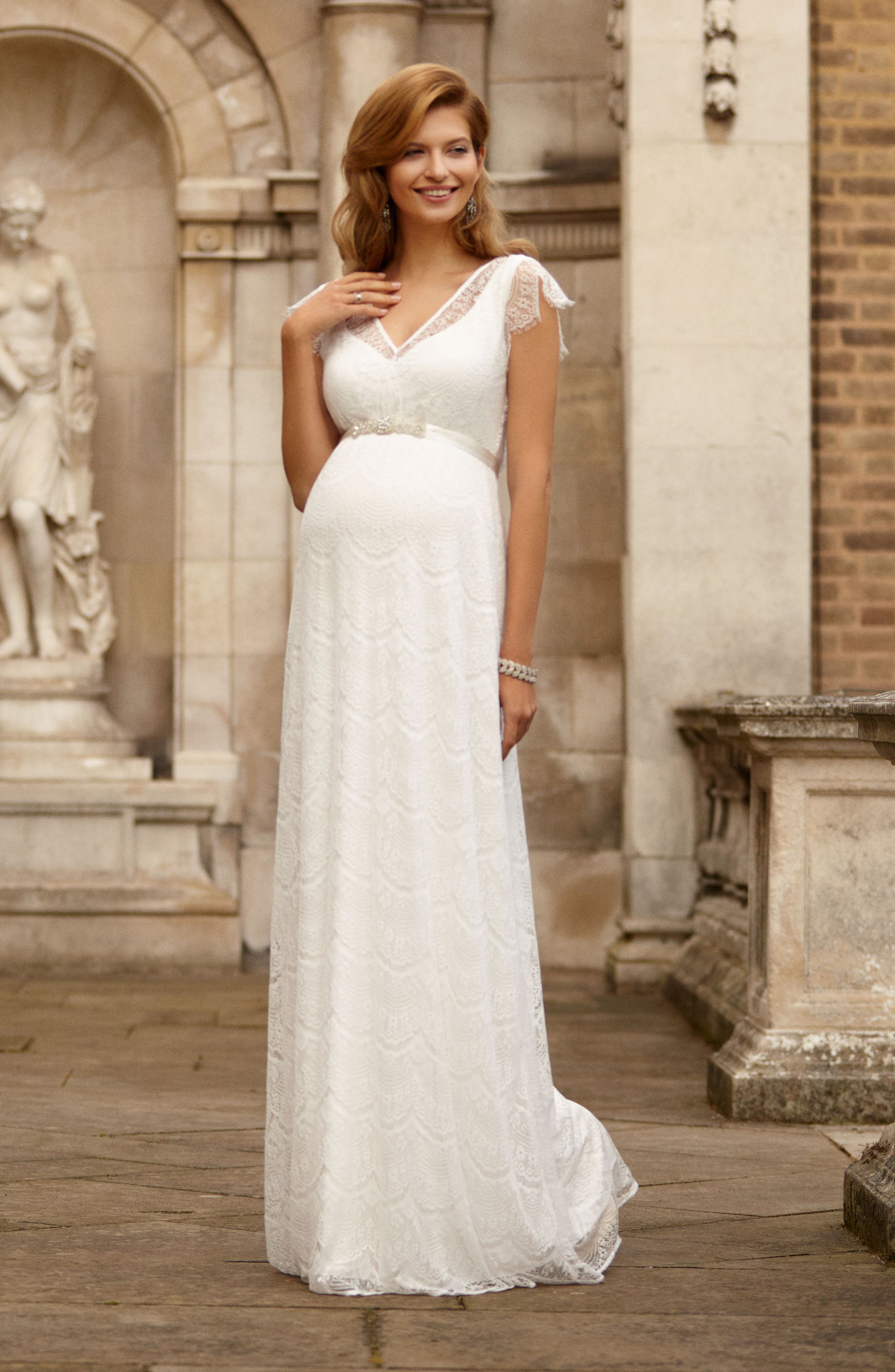 Kristin Long Lace Maternity Gown,                             Alternate thumbnail 8, color,                             IVORY