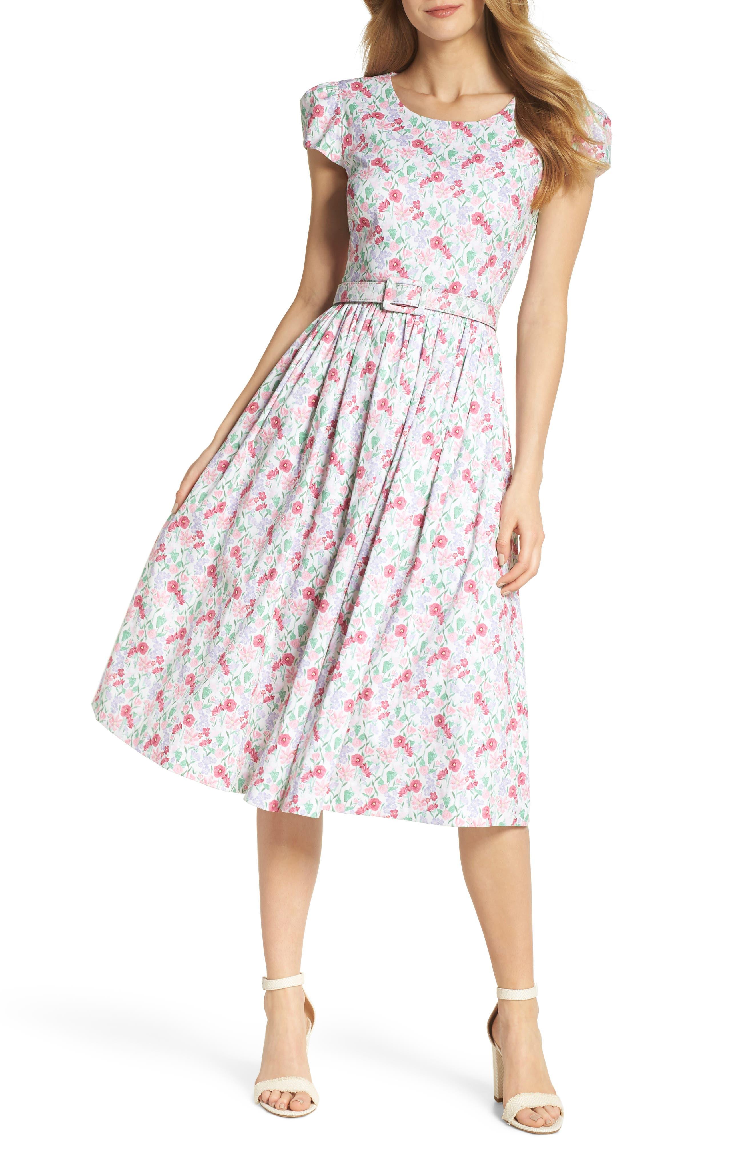 Packed Bouquet Print Stretch Cotton Dress,                         Main,                         color, 650