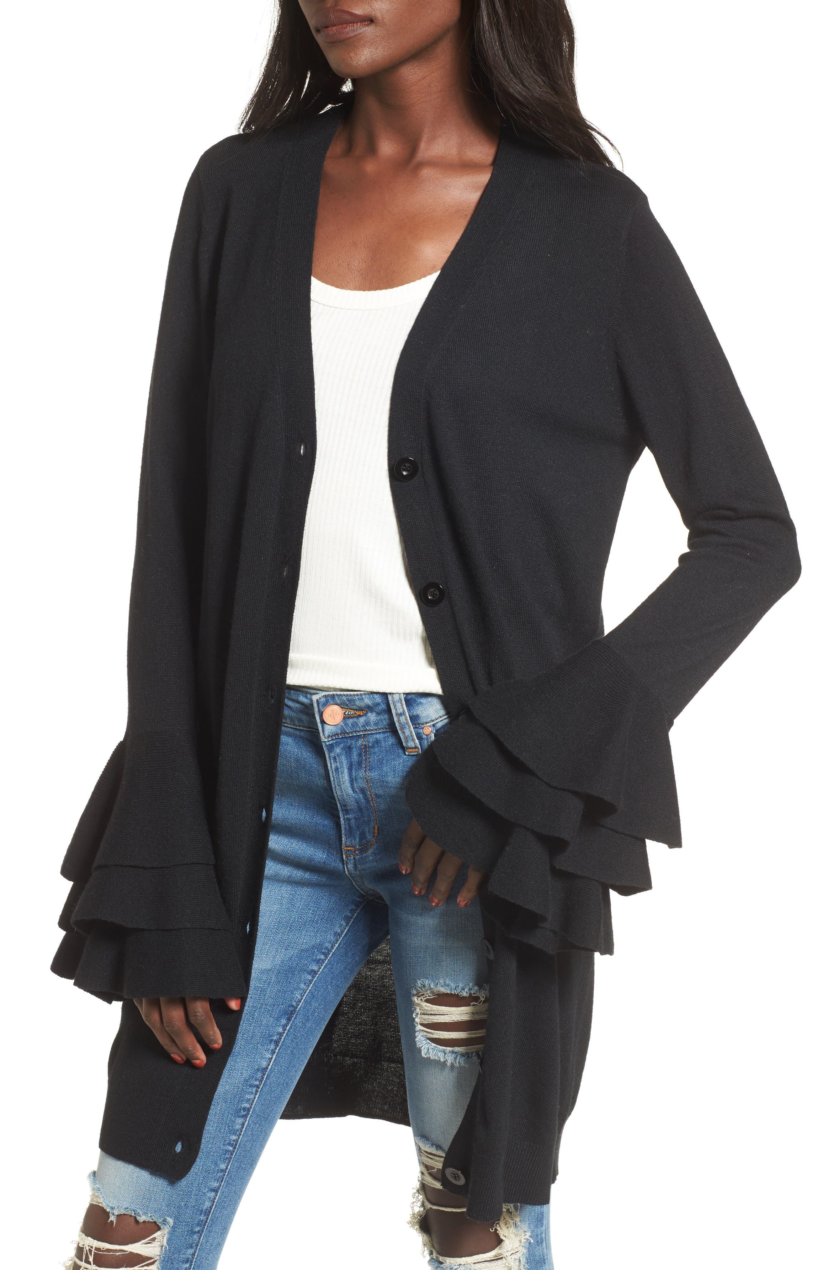Ruffle Sleeve Longline Cardigan,                         Main,                         color, 001