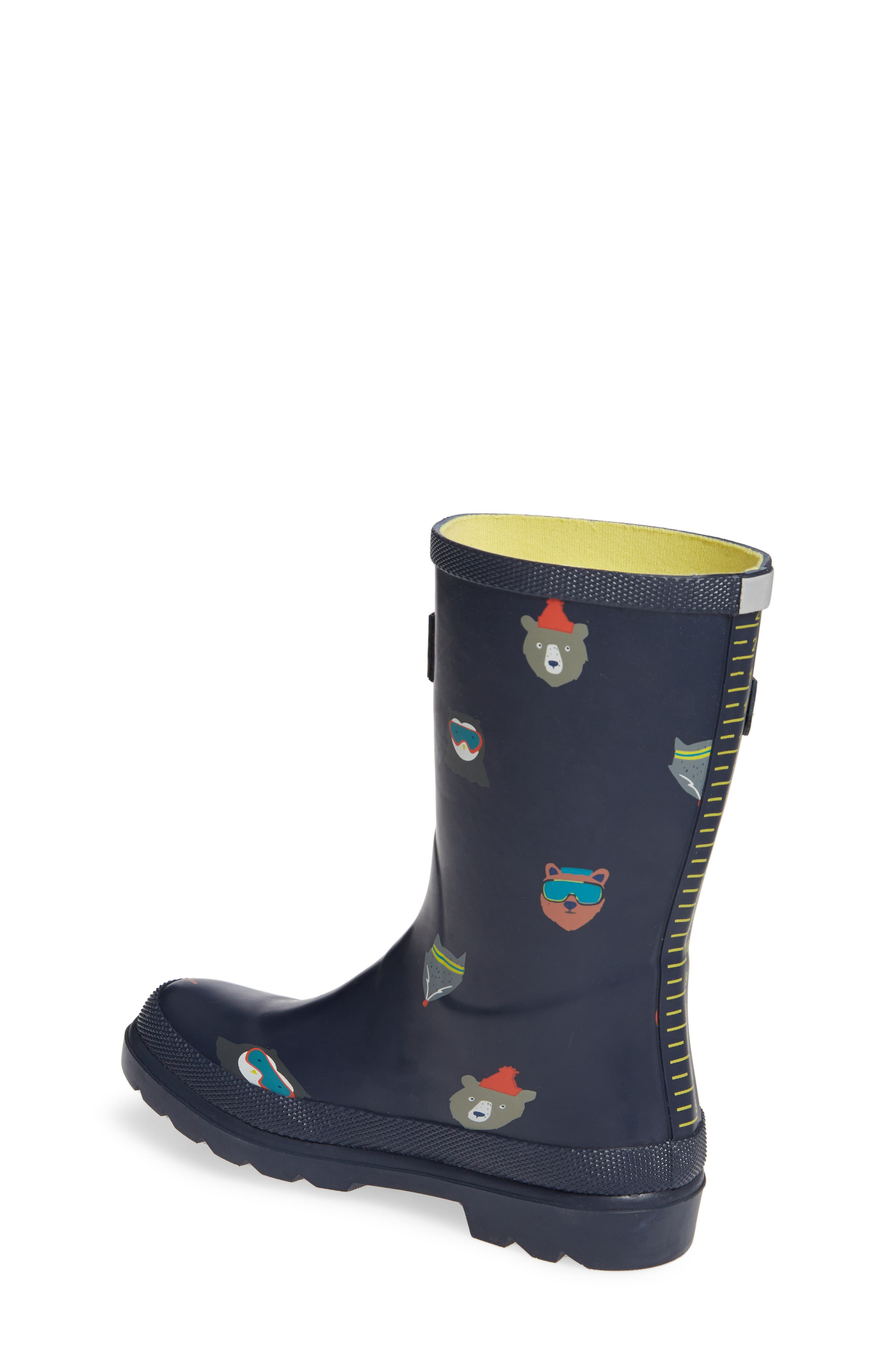 Welly Print Waterproof Rain Boot,                             Alternate thumbnail 2, color,                             FRENCH NAVY ANIMALS