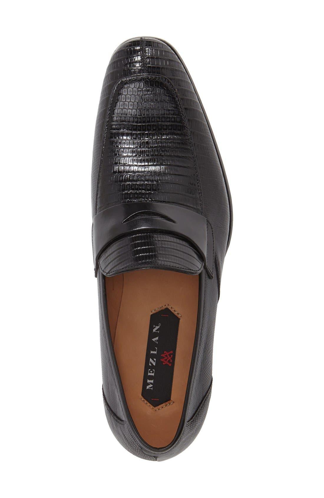 'Lipari' Lizard Leather Penny Loafer,                             Alternate thumbnail 3, color,                             BLACK
