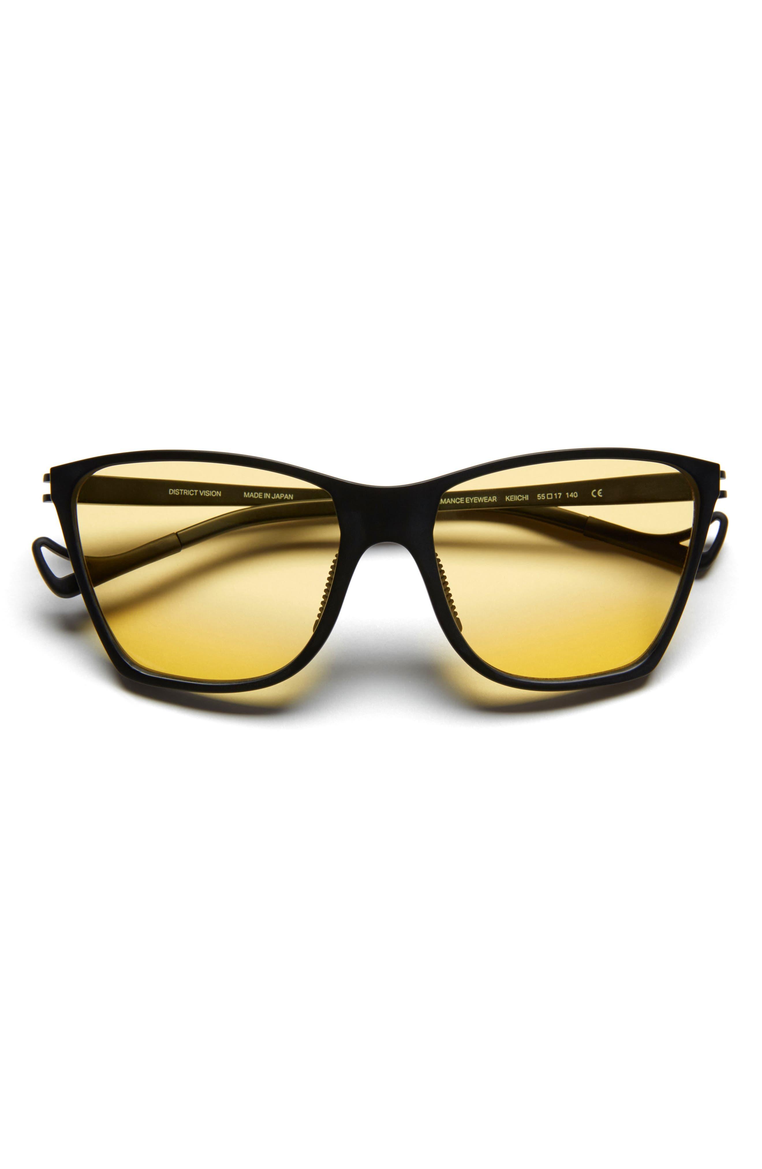 Keiichi Standard 55mm Sunglasses,                             Alternate thumbnail 2, color,                             BLACK/ YELLOW