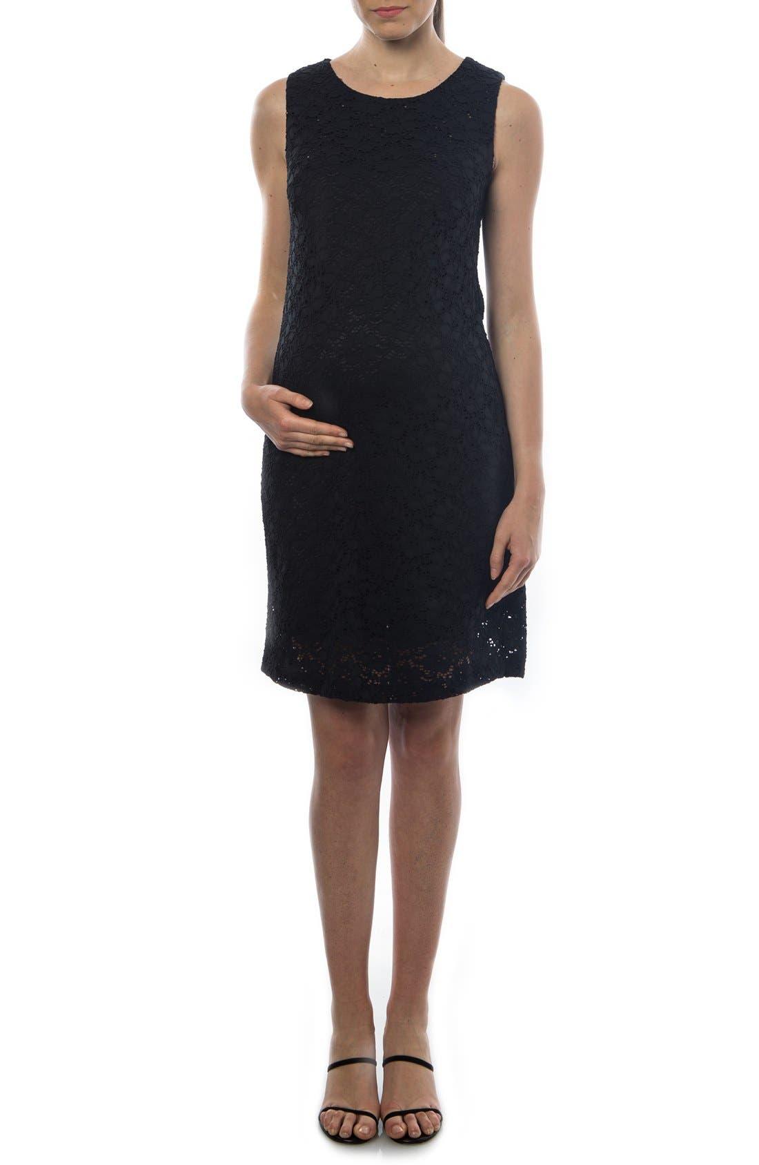 'Danubio' Lace Maternity Shift Dress,                             Main thumbnail 1, color,                             BLACK