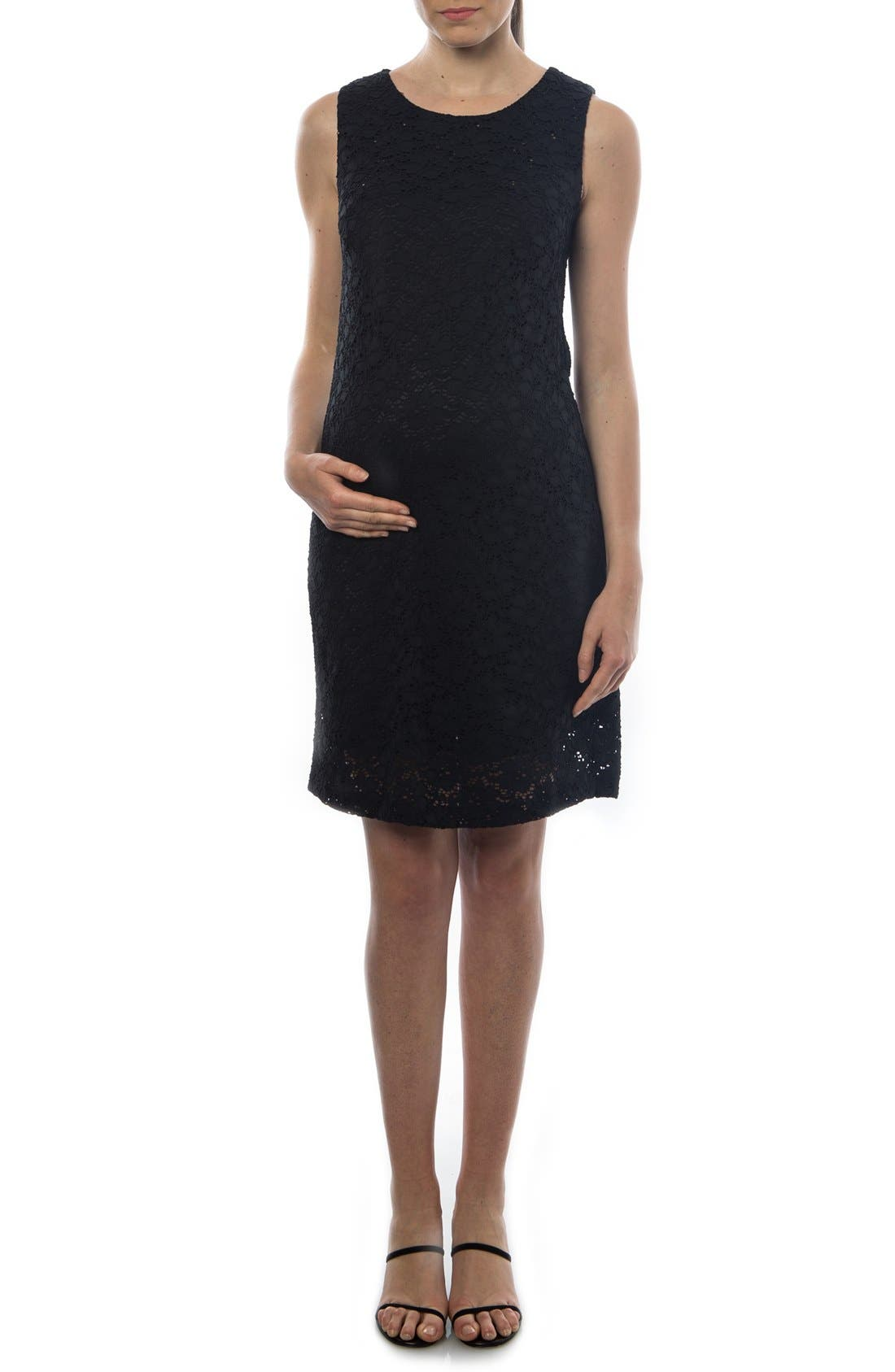 'Danubio' Lace Maternity Shift Dress,                         Main,                         color, BLACK
