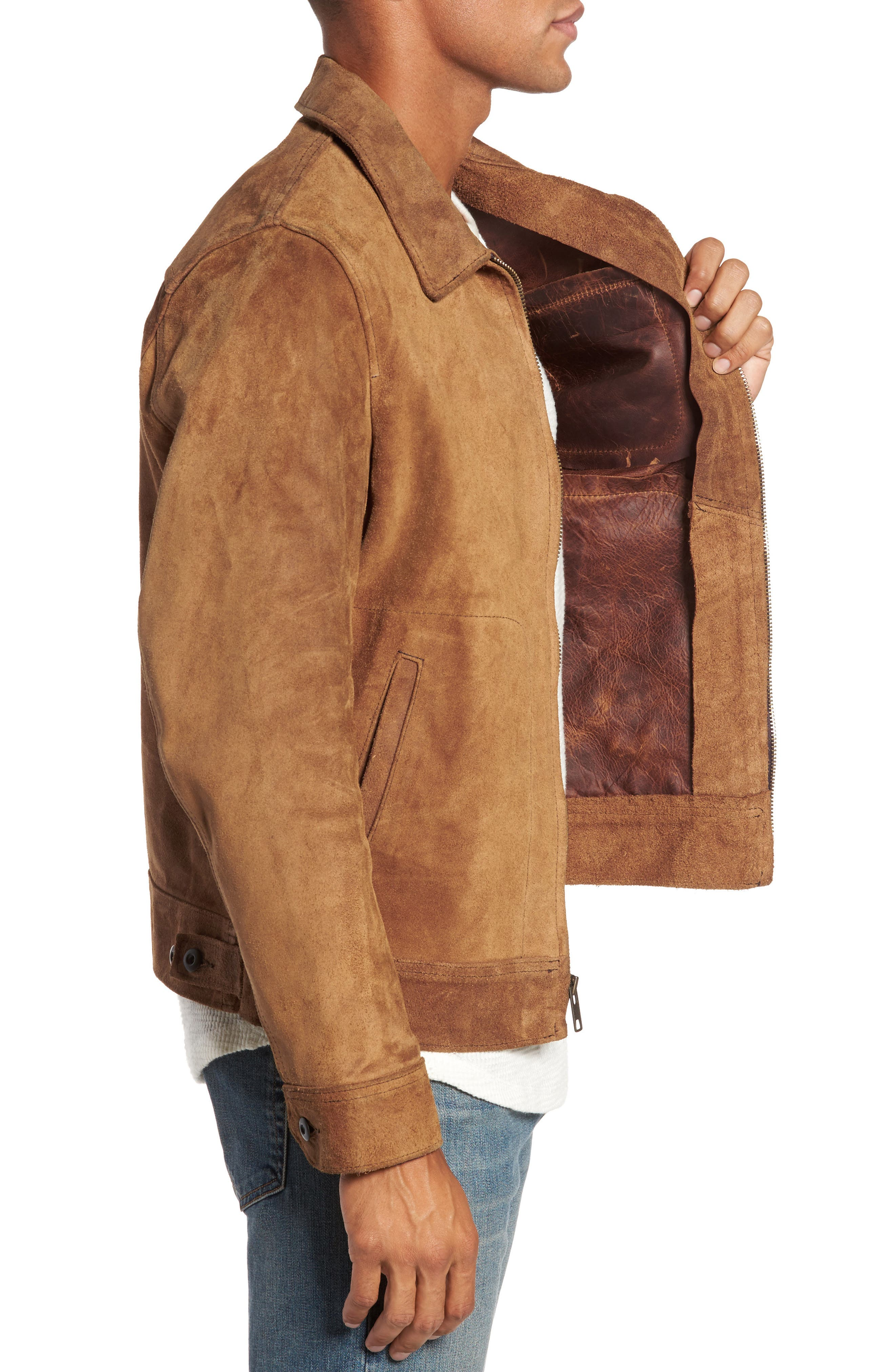 Unlined Rough Out Oiled Cowhide Trucker Jacket,                             Alternate thumbnail 3, color,                             BROWN