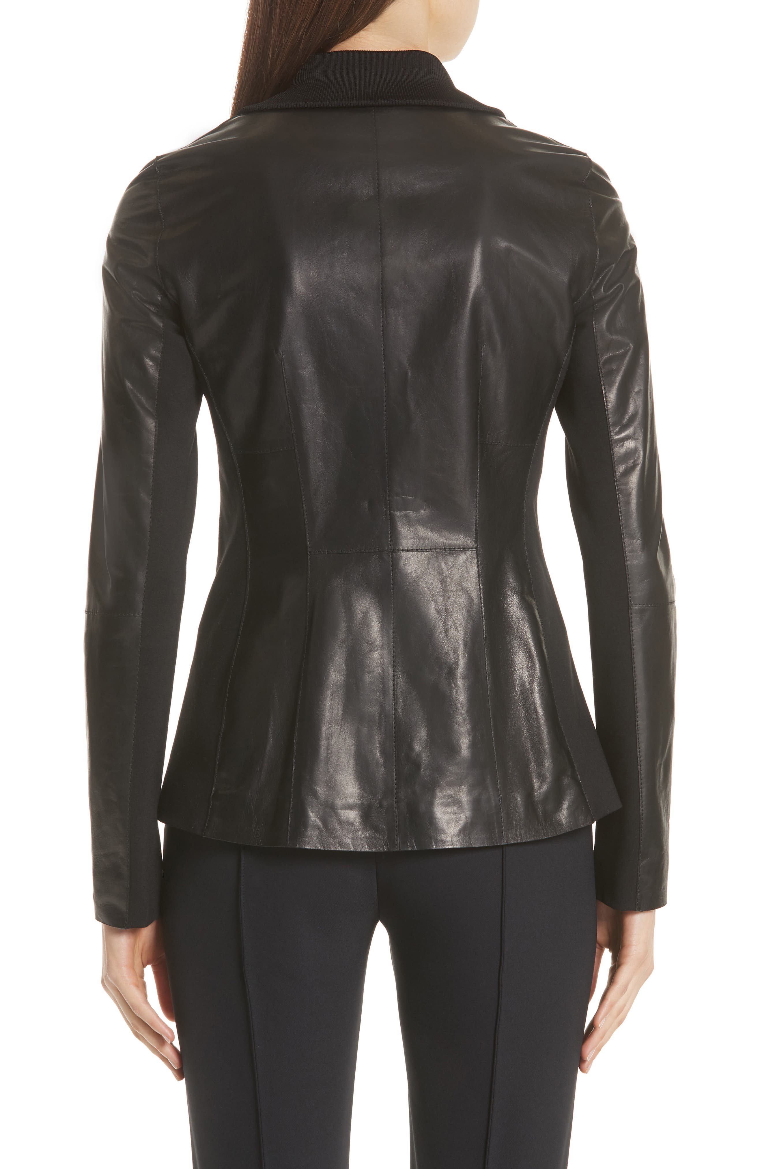 Ponte Panel Leather Jacket,                             Alternate thumbnail 2, color,                             001