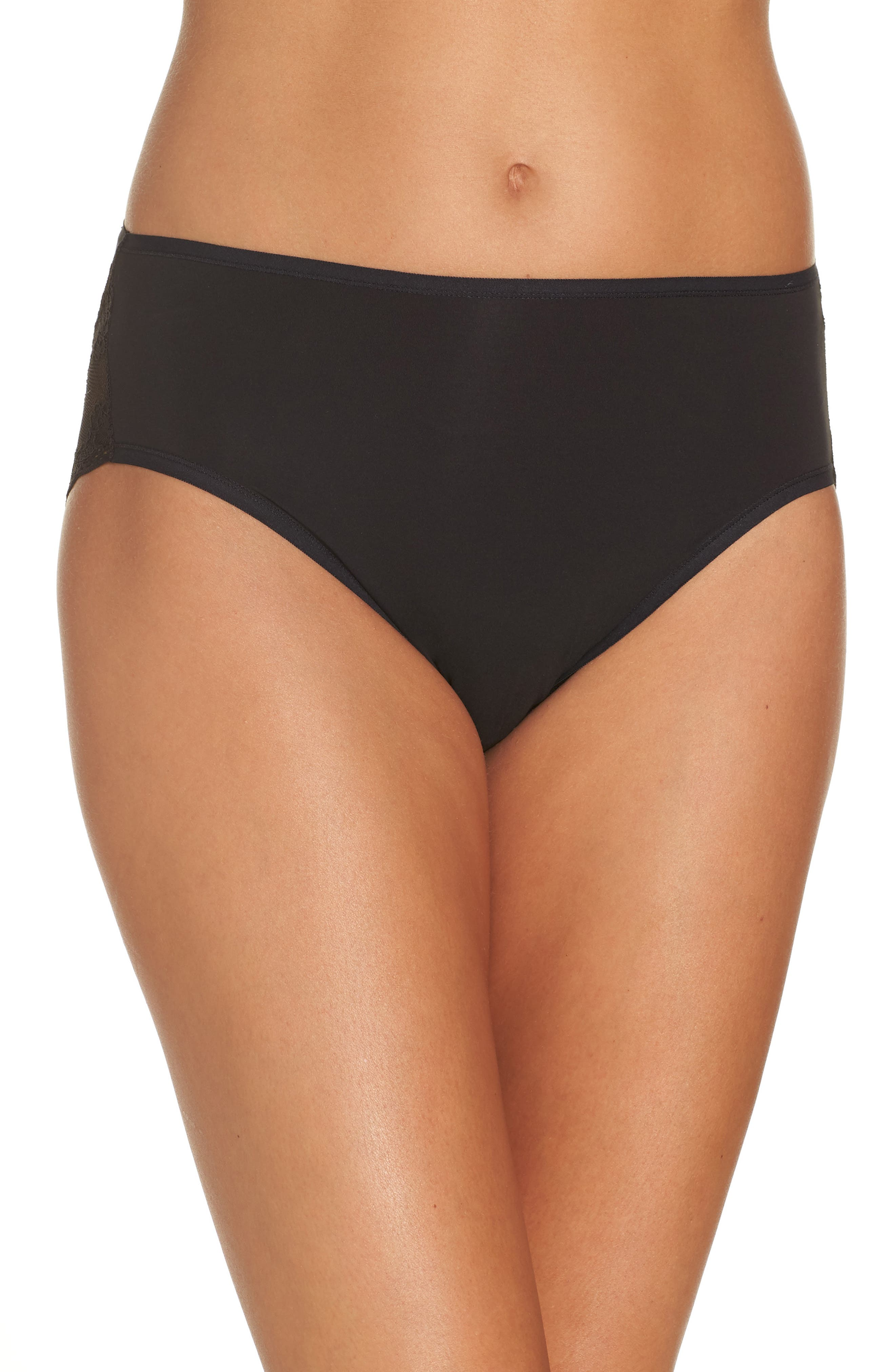 Bliss Perfection French Cut Briefs,                             Main thumbnail 1, color,                             BLACK