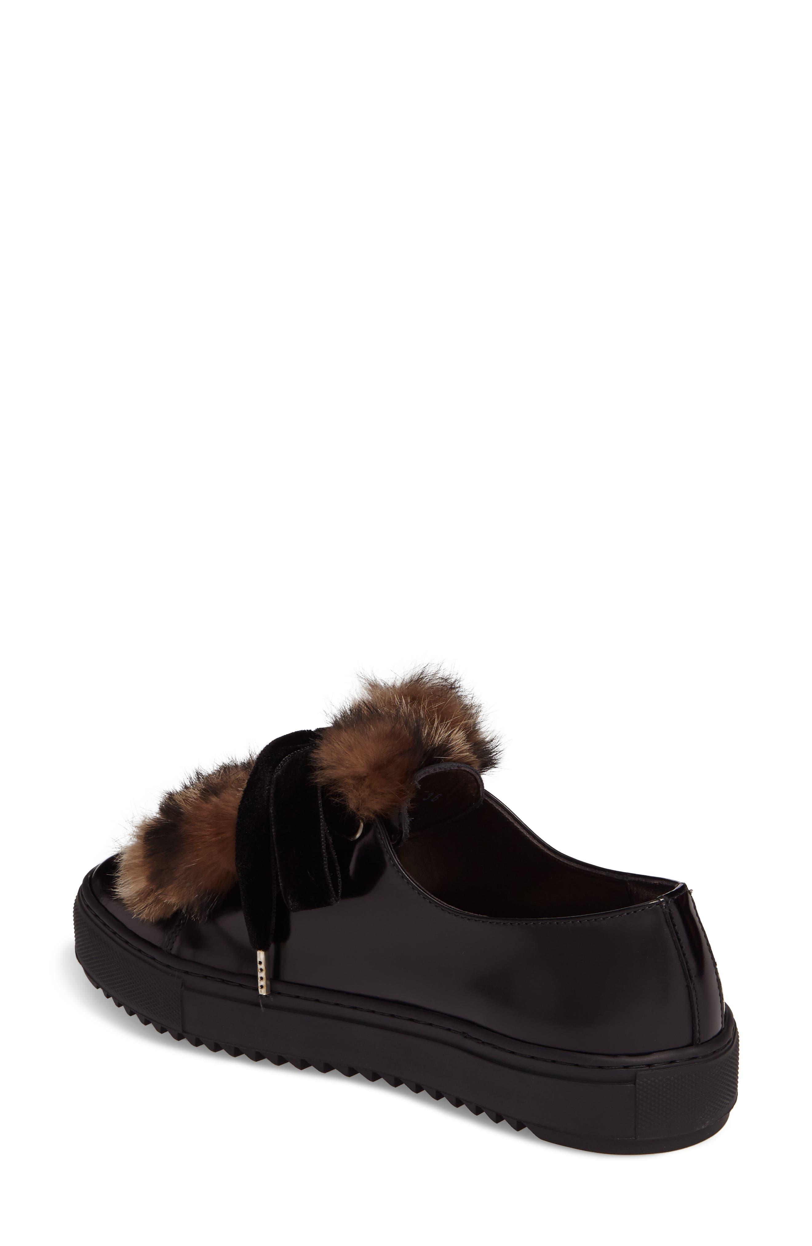 Fluff Genuine Rabbit Fur Sneaker,                             Alternate thumbnail 2, color,                             001
