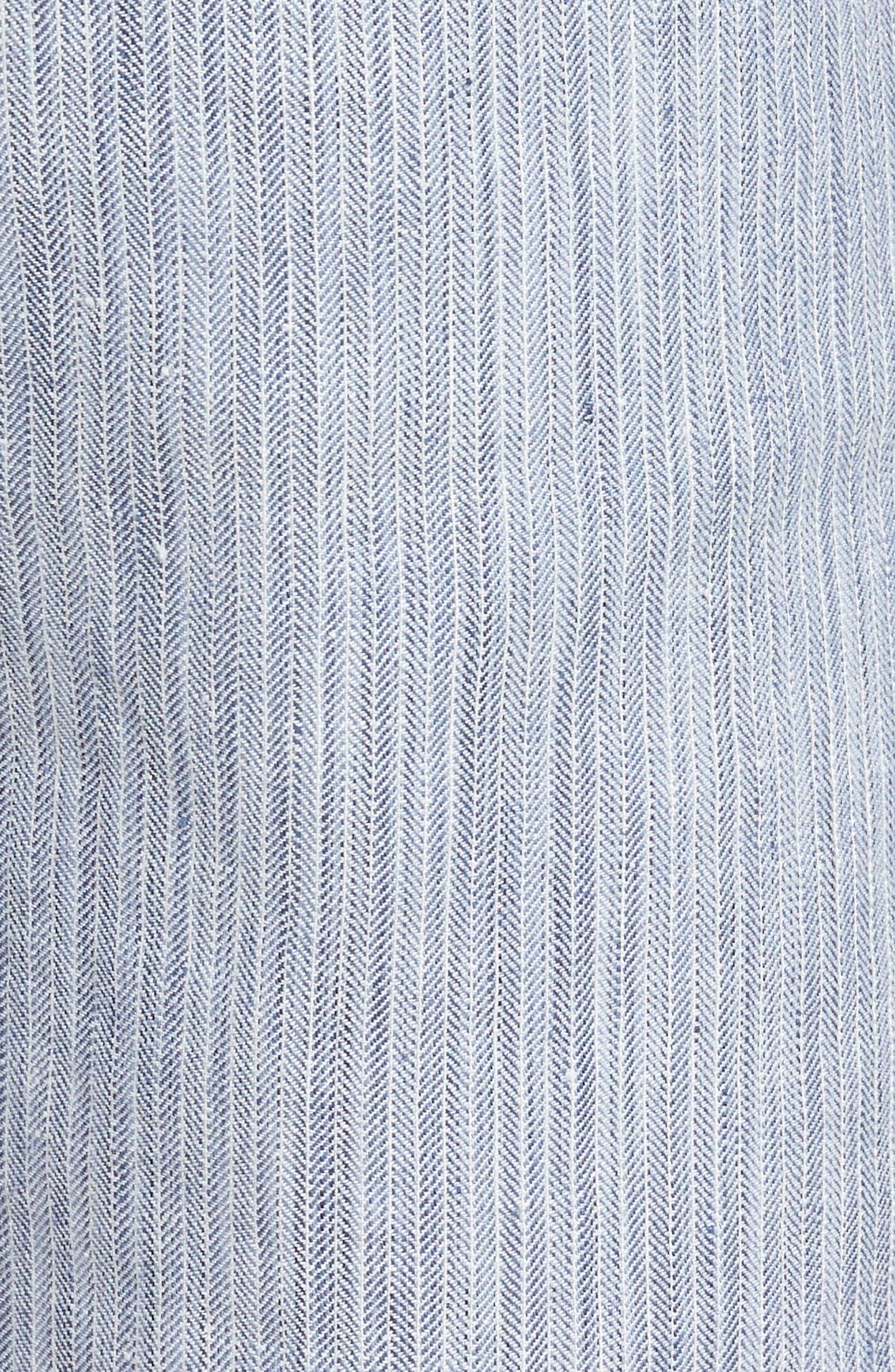 Harbor Herringbone Linen Blend Shorts,                             Alternate thumbnail 5, color,                             CHAMBRAY