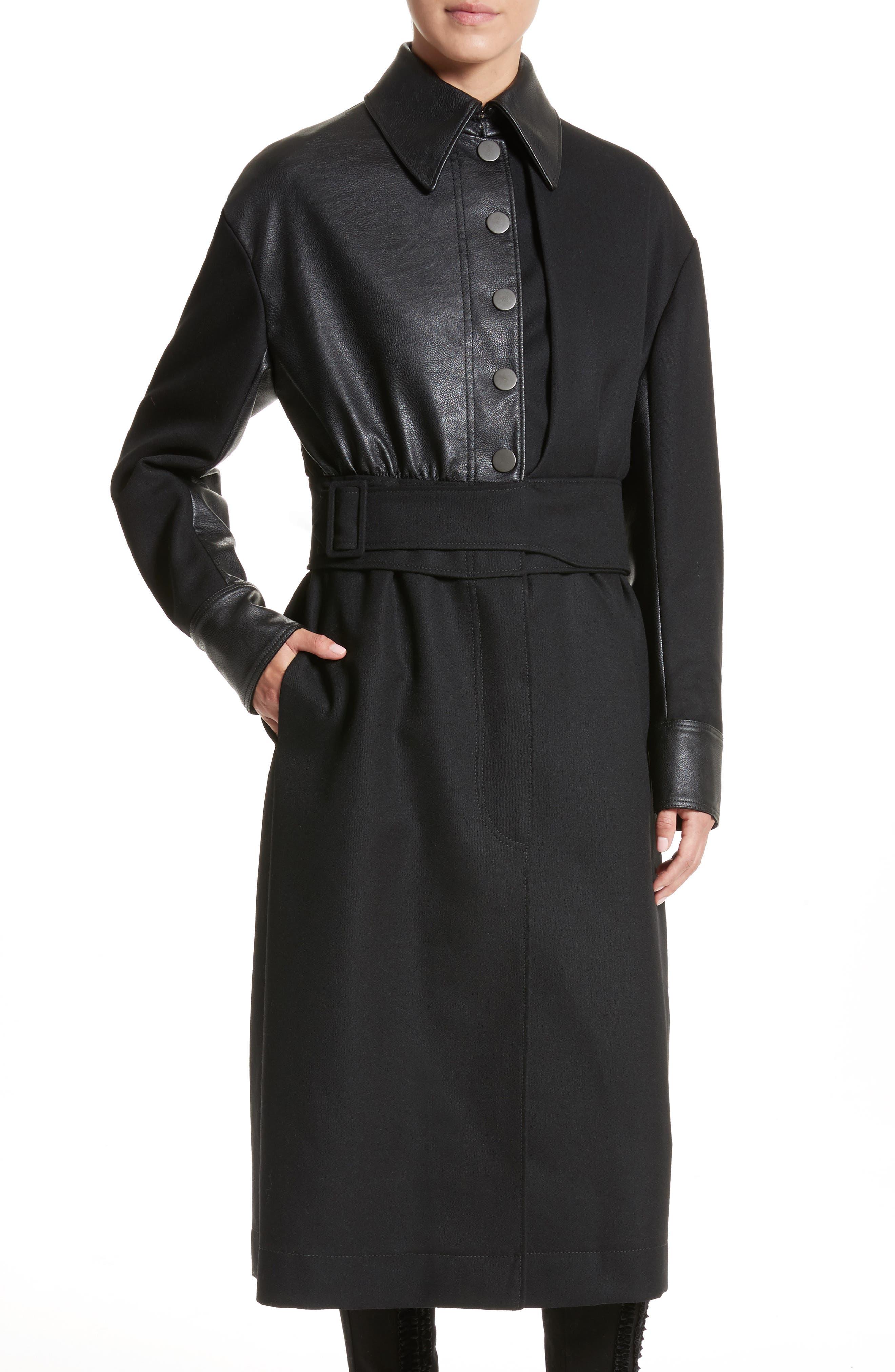Eden Alter Leather Trim Wool Coat,                             Alternate thumbnail 4, color,                             001