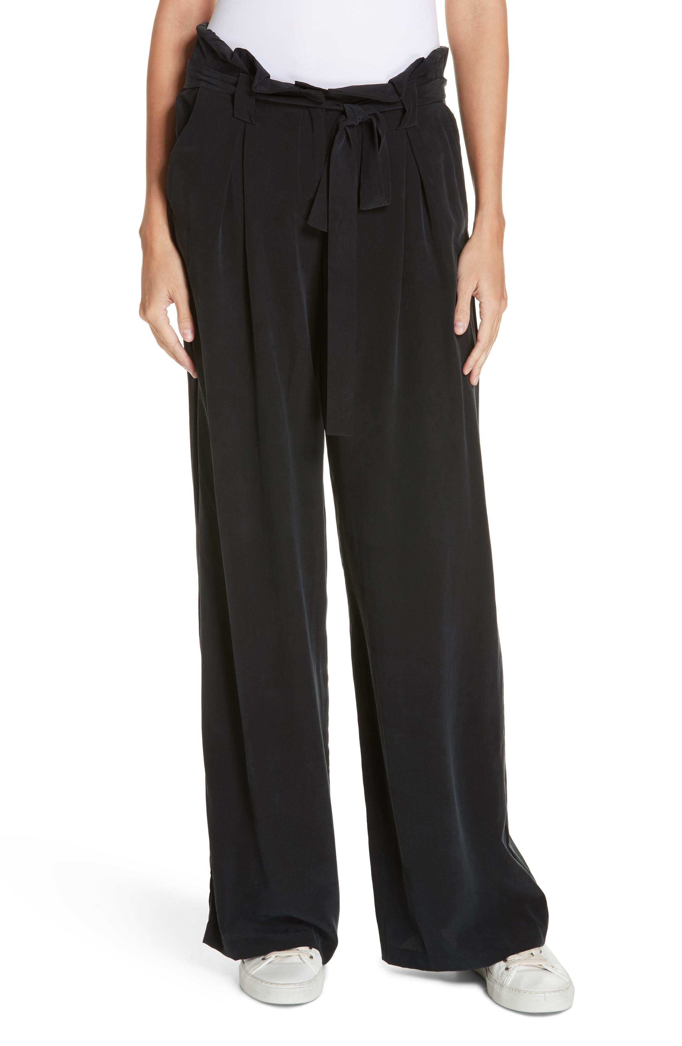 Bobby Paperbag Wide Leg Silk Pants in Black