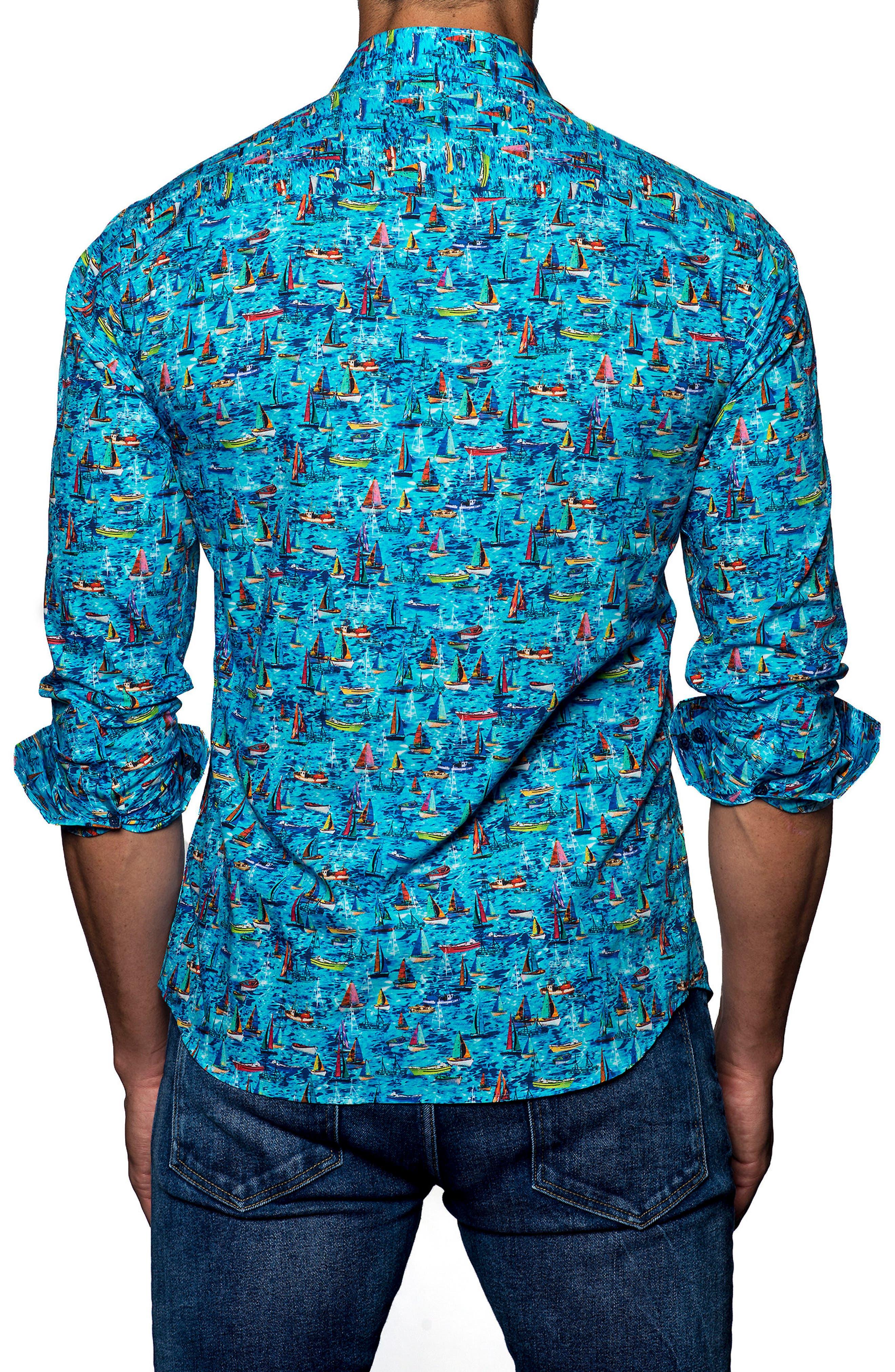 Trim Fit Print Sport Shirt,                             Alternate thumbnail 2, color,                             440