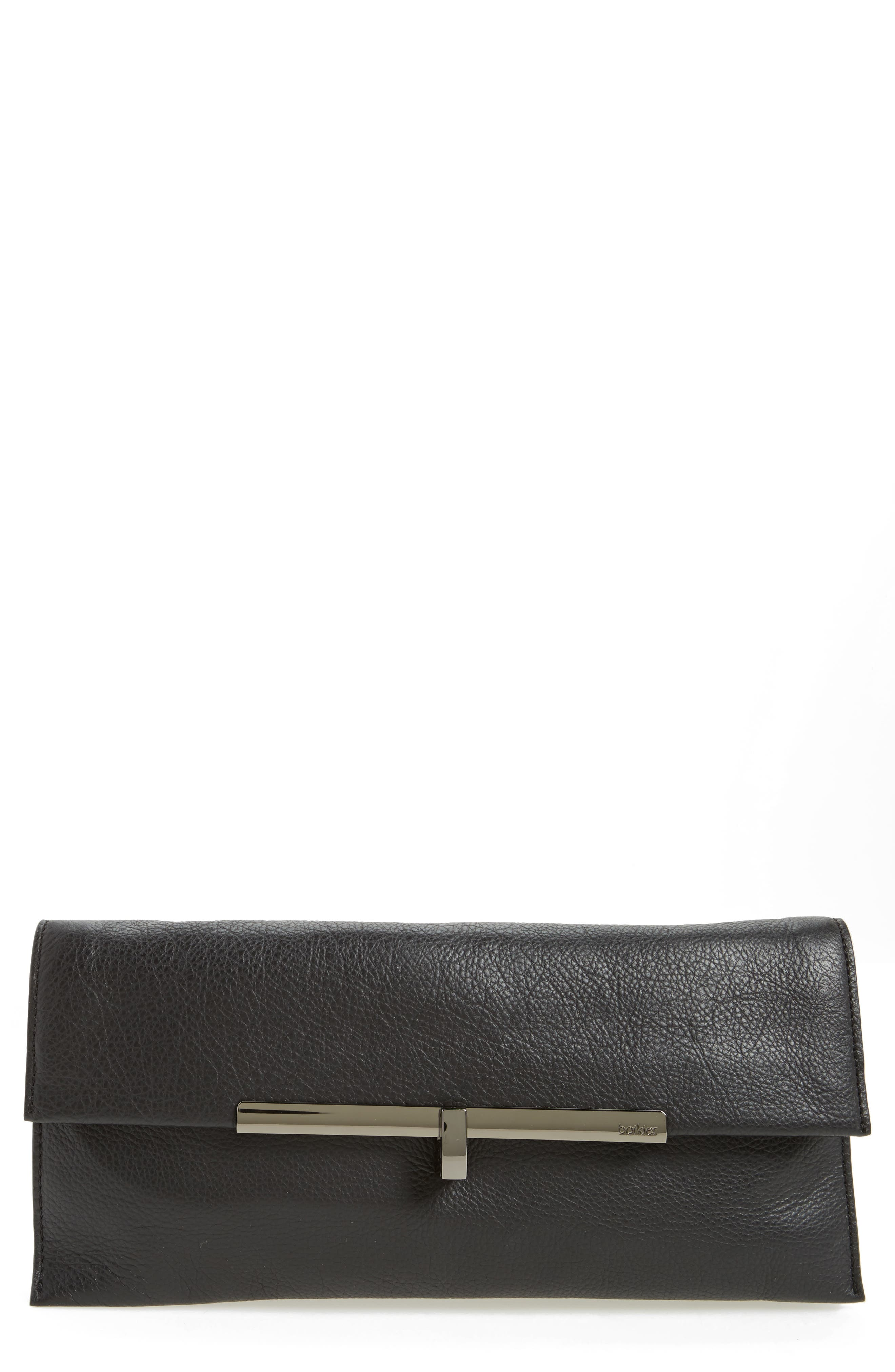 Bleeker Leather Clutch,                         Main,                         color, 004