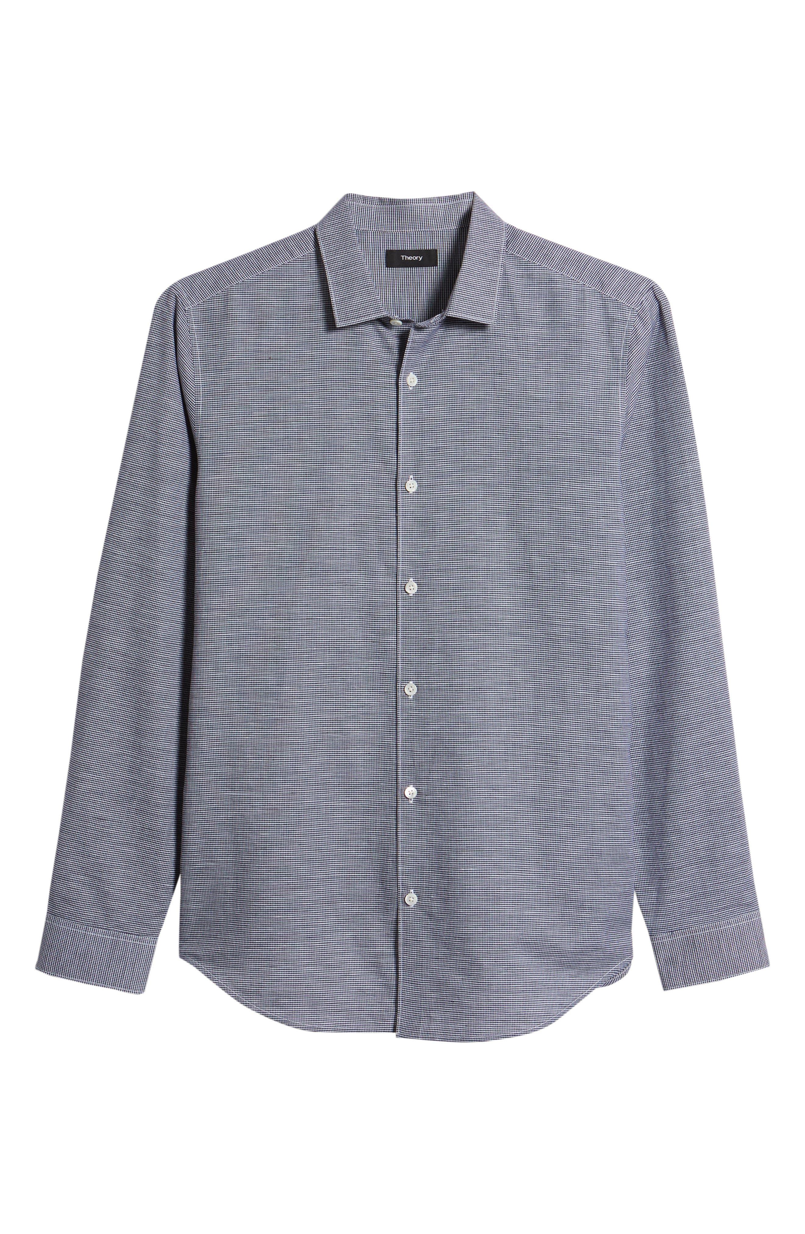 Murrary Trim Fit Check Linen & Cotton Sport Shirt,                             Alternate thumbnail 6, color,                             400