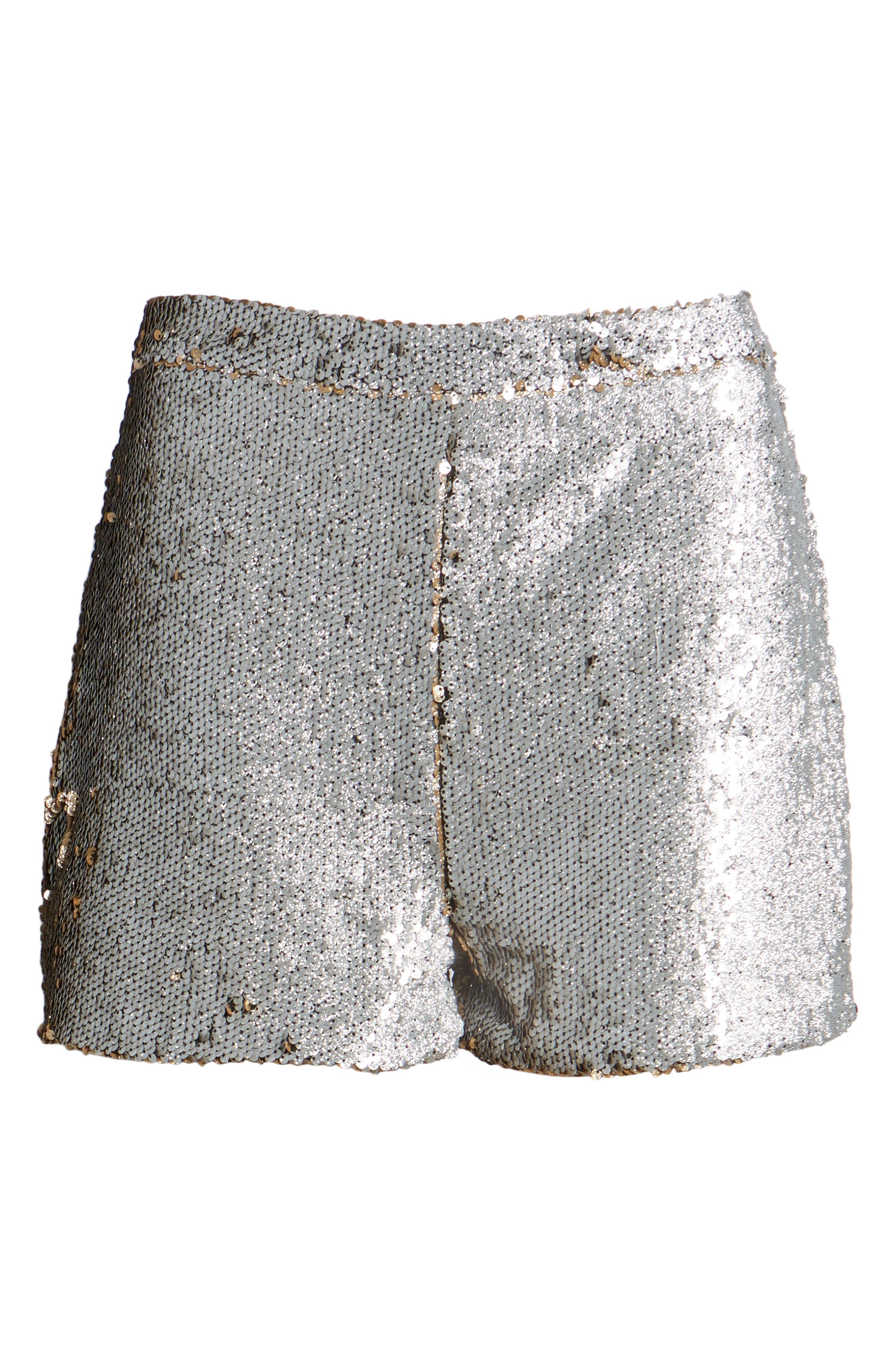 High Waist Sequin Shorts,                             Alternate thumbnail 6, color,                             710
