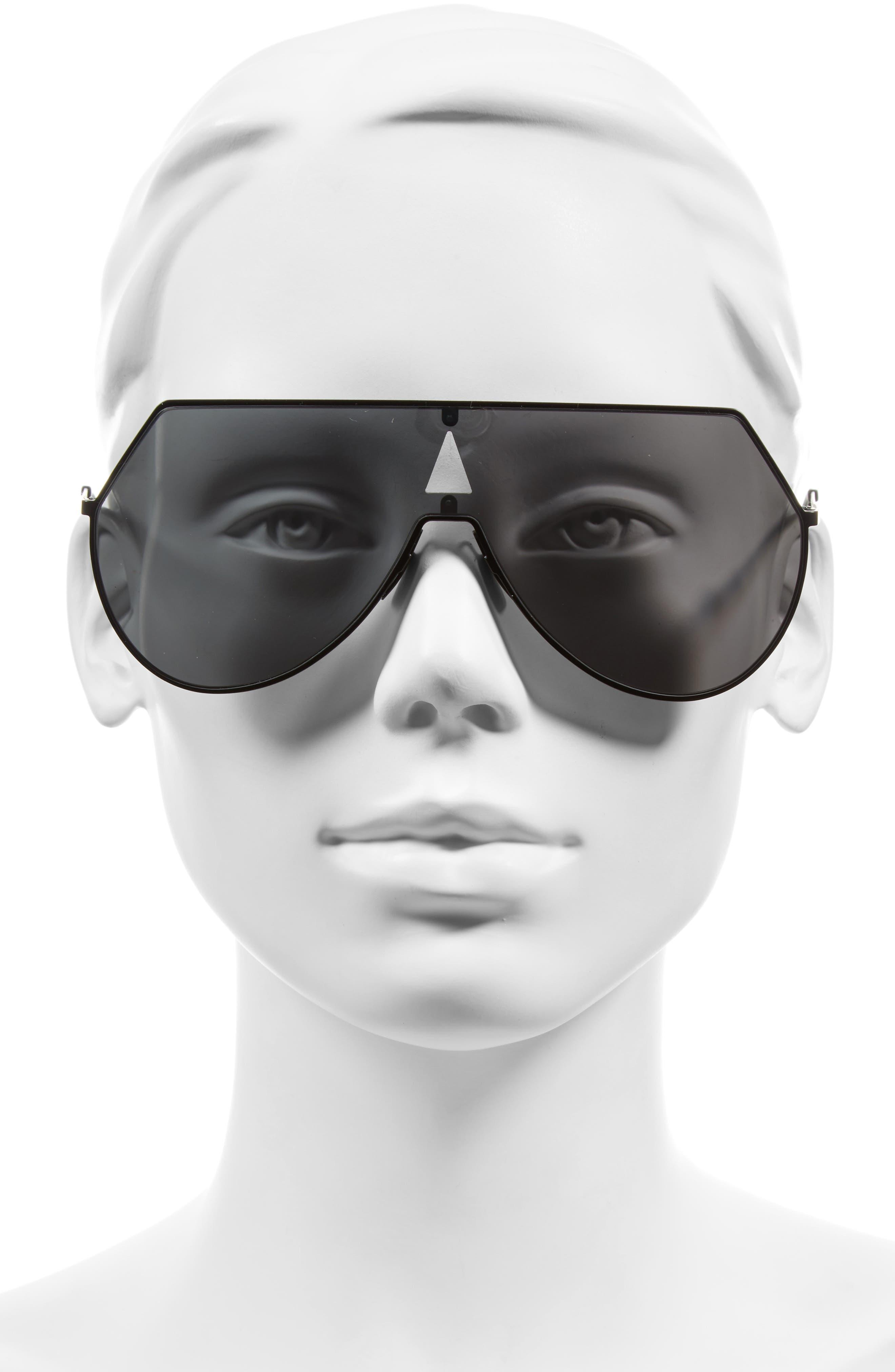 99mm Eyeline Aviator Sunglasses,                             Alternate thumbnail 3, color,                             MATTE BLACK