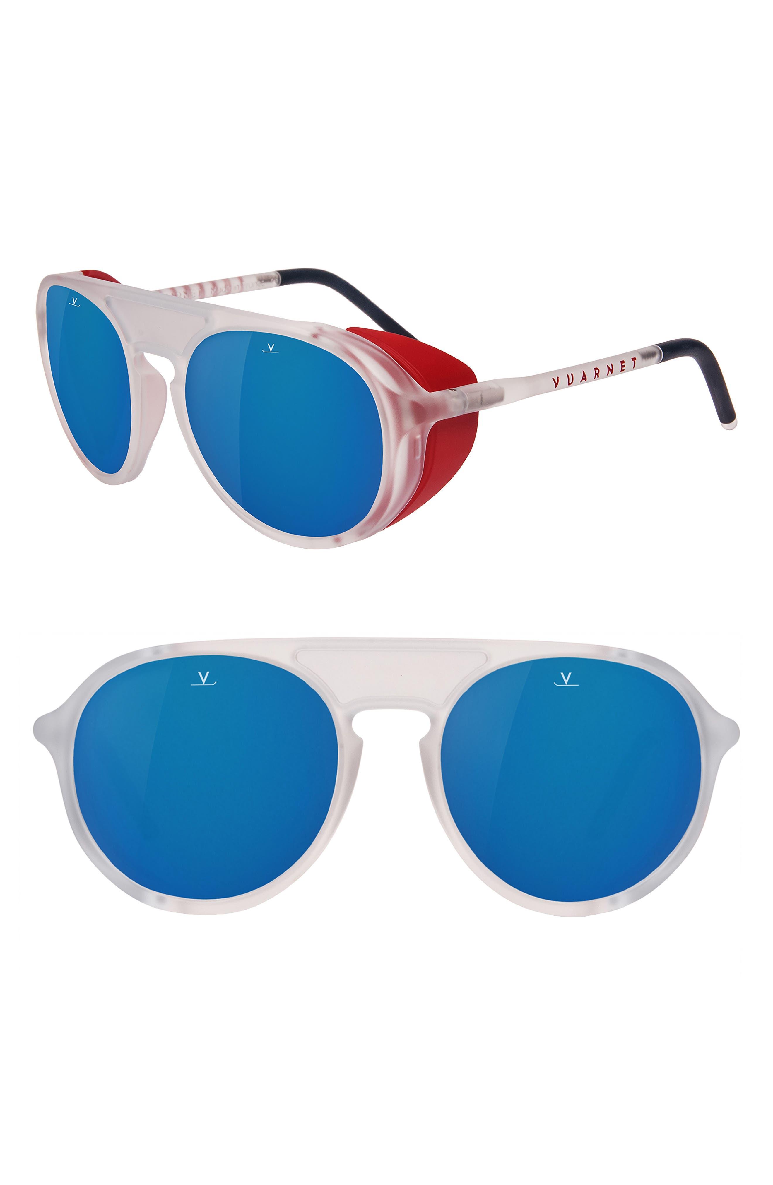 Ice 51mm Polarized Aviator Sunglasses,                         Main,                         color, GREY POLAR BLUE FLASH