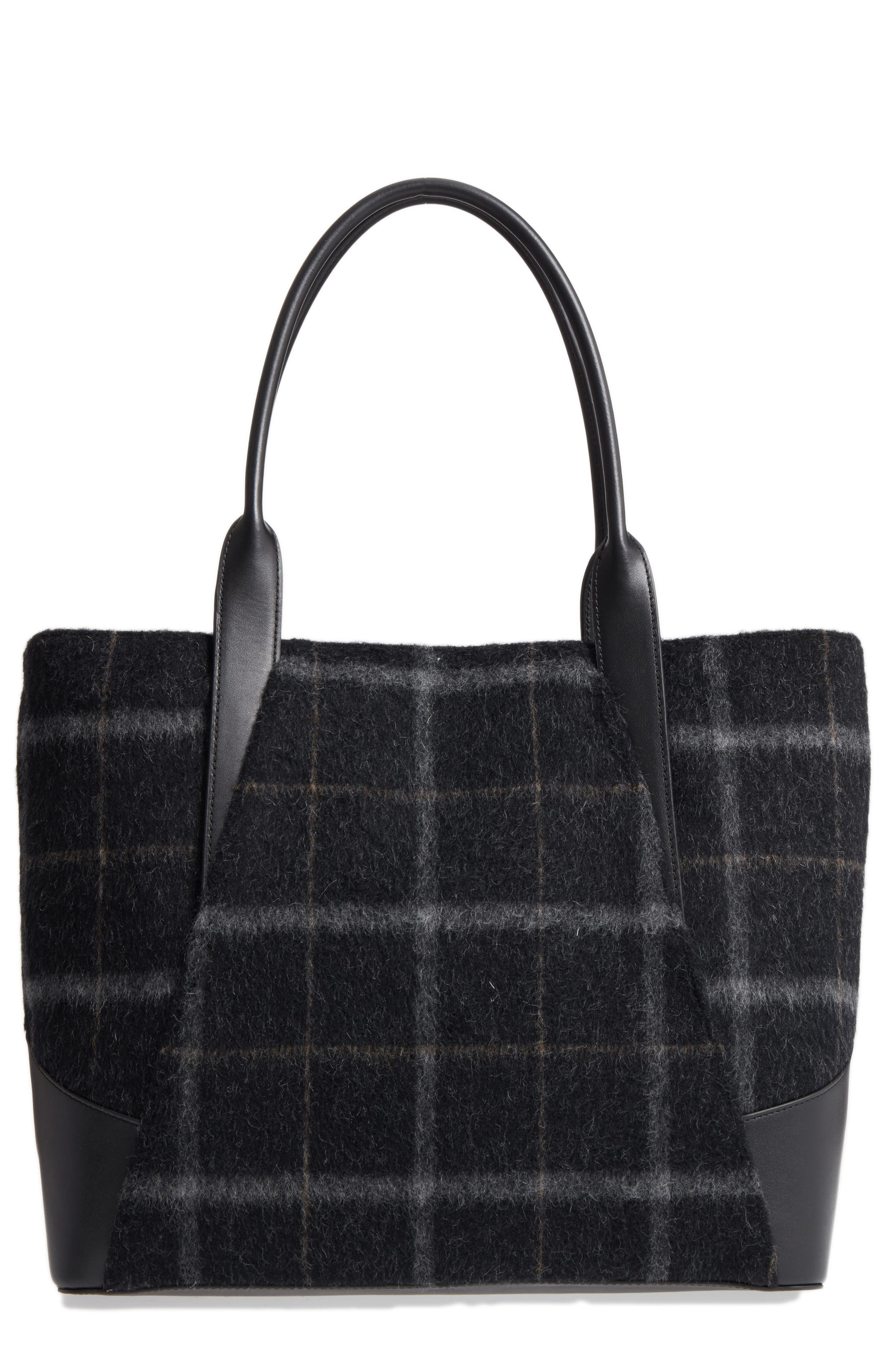 Aston Wool & Leather Tote,                             Main thumbnail 1, color,                             001