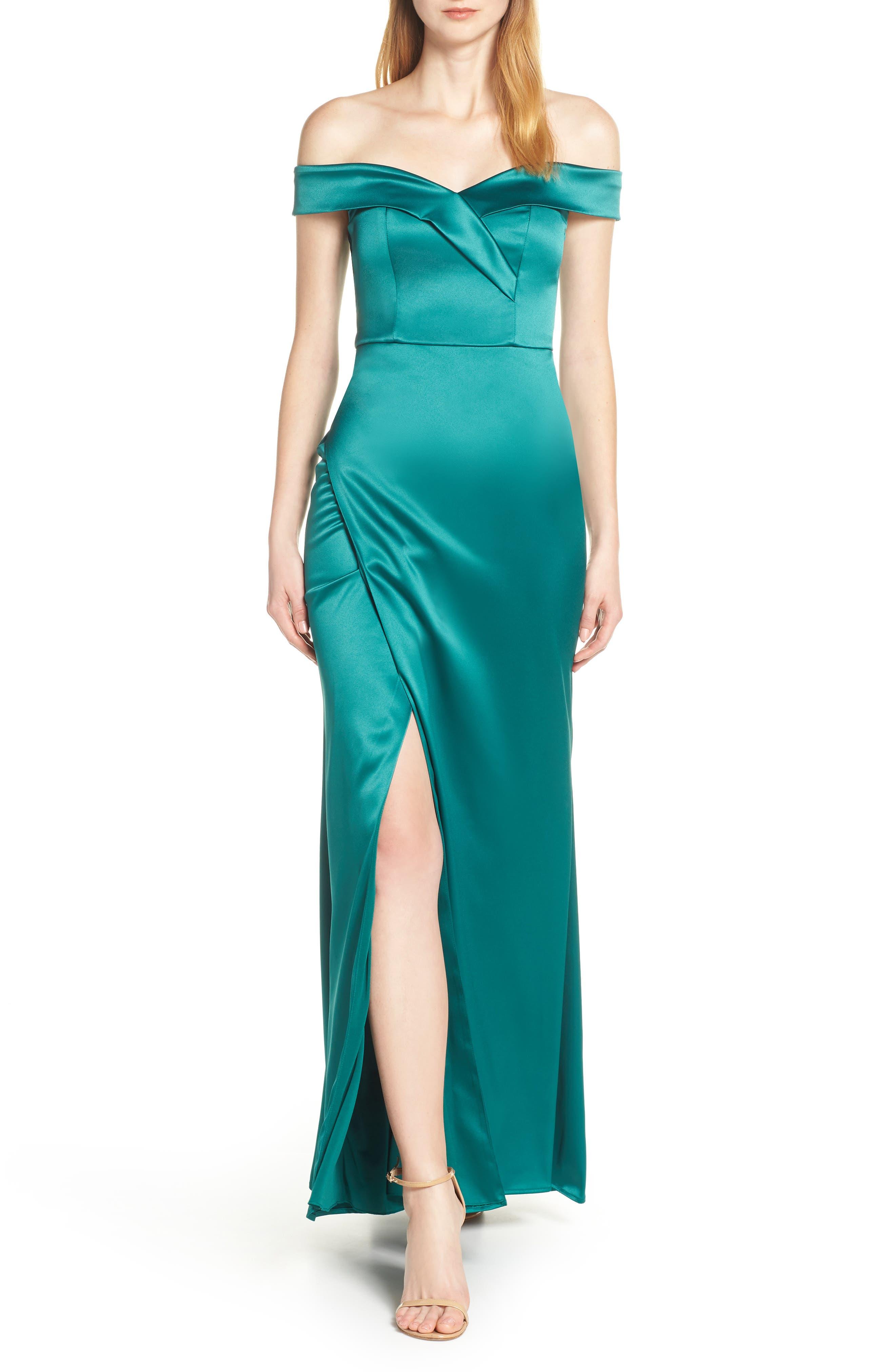 Sequin Hearts Off The Shoulder Satin Evening Dress, Green