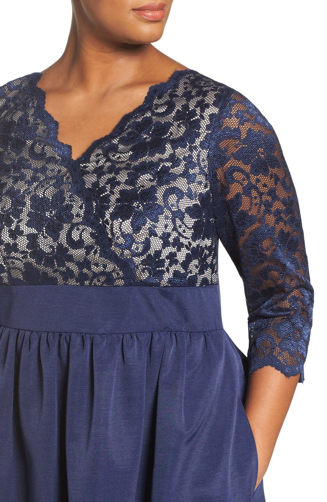 Lace & Faille Dress,                             Alternate thumbnail 12, color,