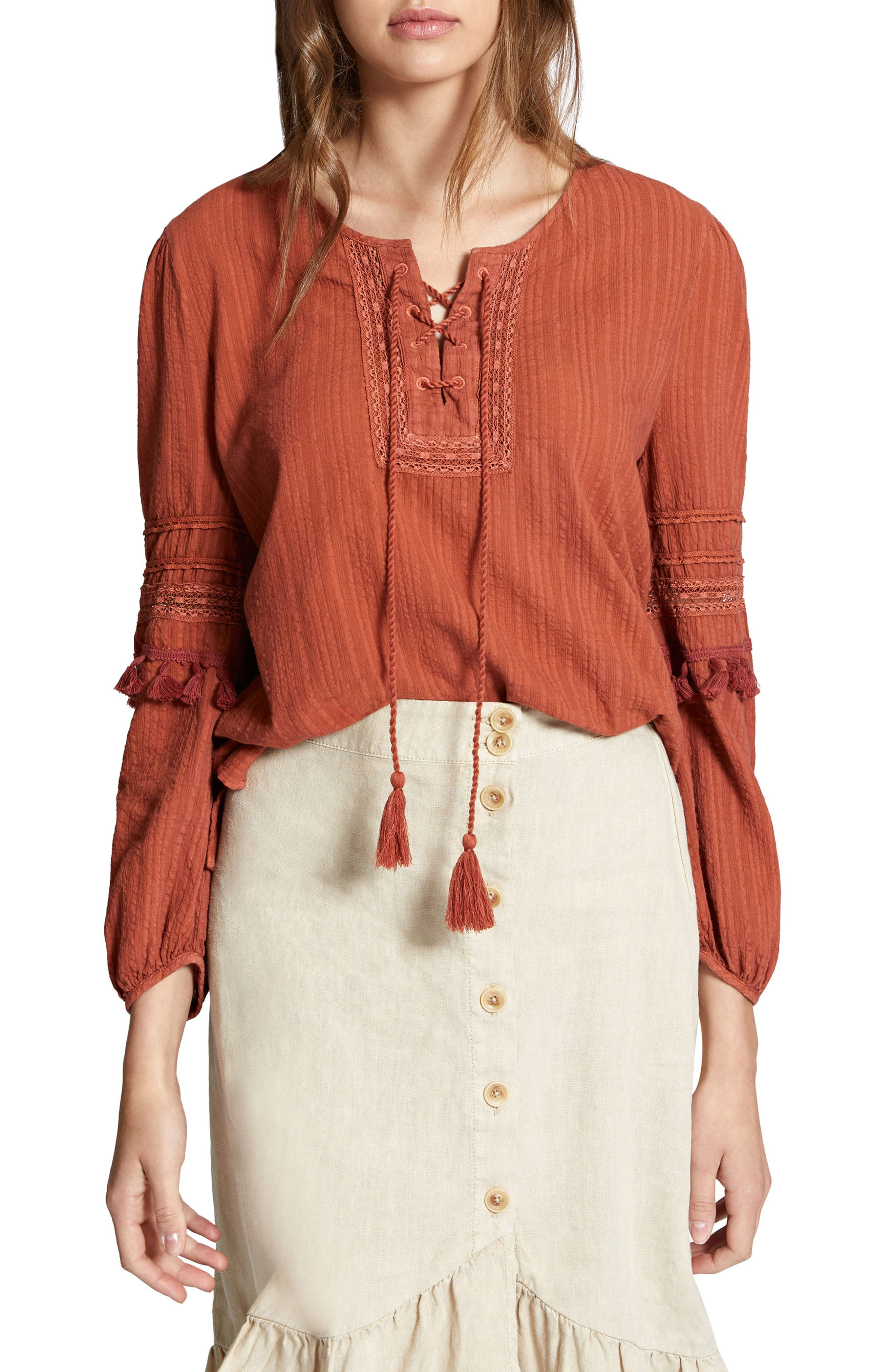 Red Rock Peasant Blouse,                         Main,                         color,