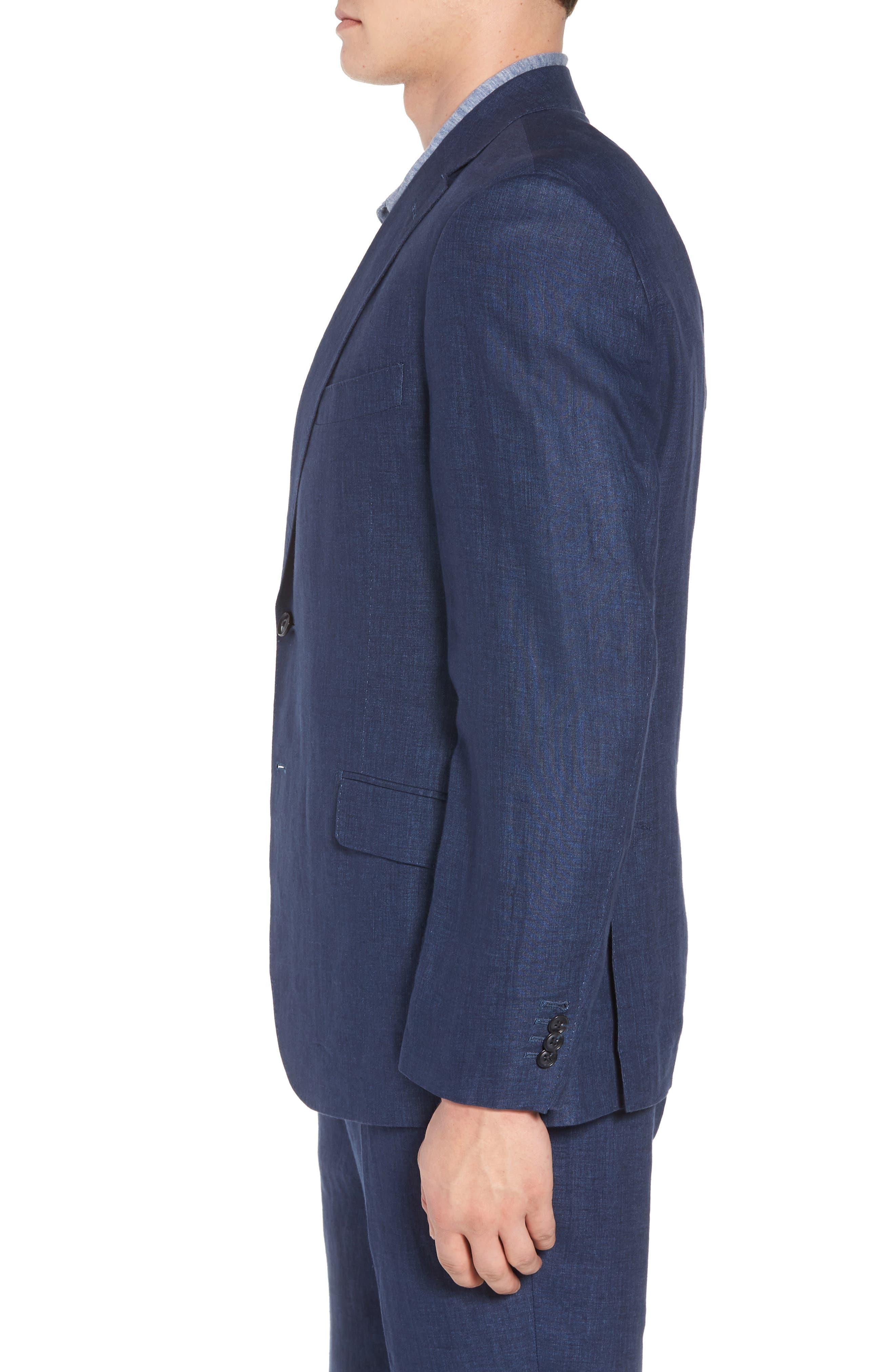 Jack AIM Classic Fit Linen Blazer,                             Alternate thumbnail 3, color,                             NAVY