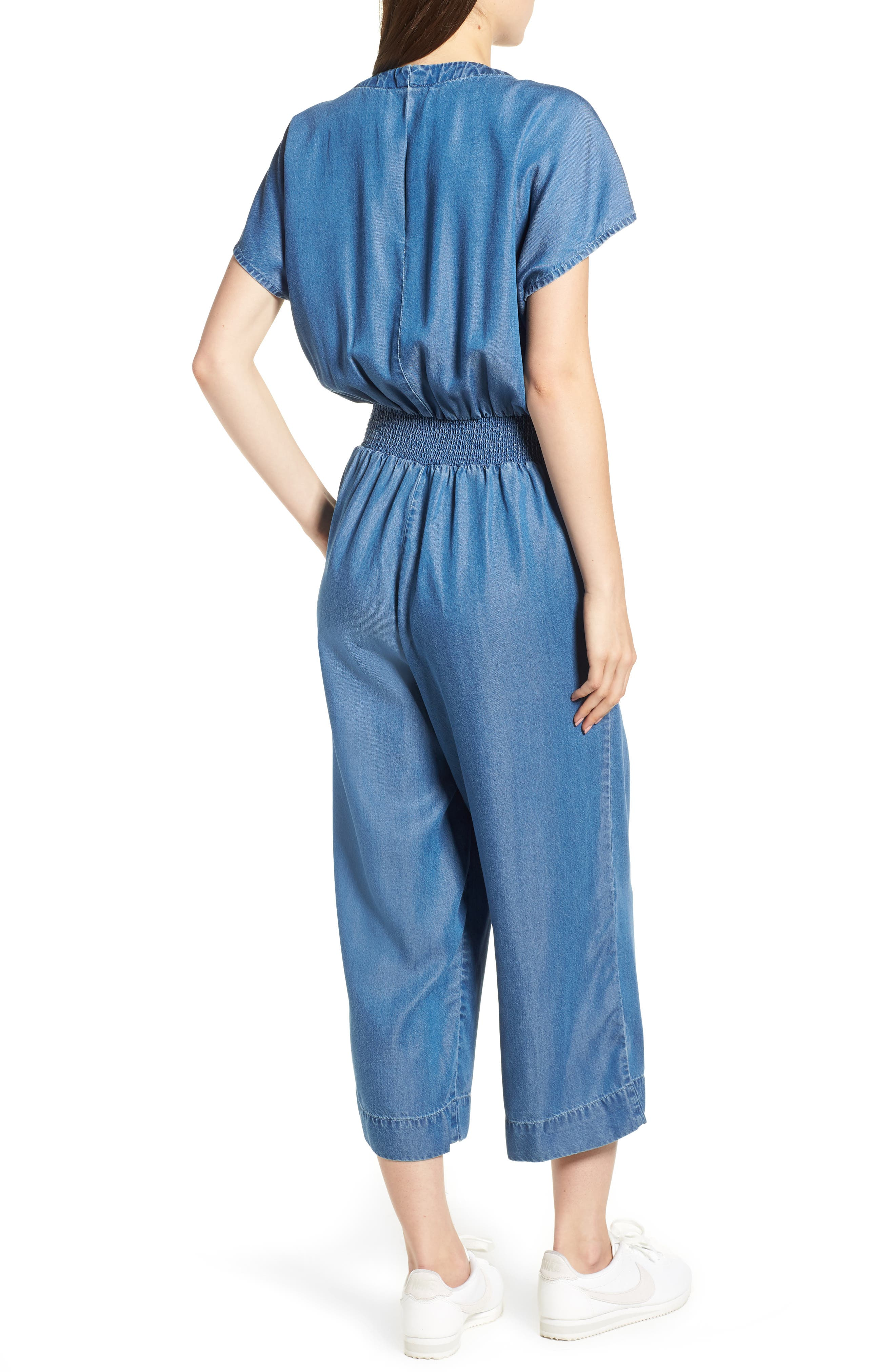 Desert Tie Waist Chambray Jumpsuit,                             Alternate thumbnail 2, color,                             MED WASH