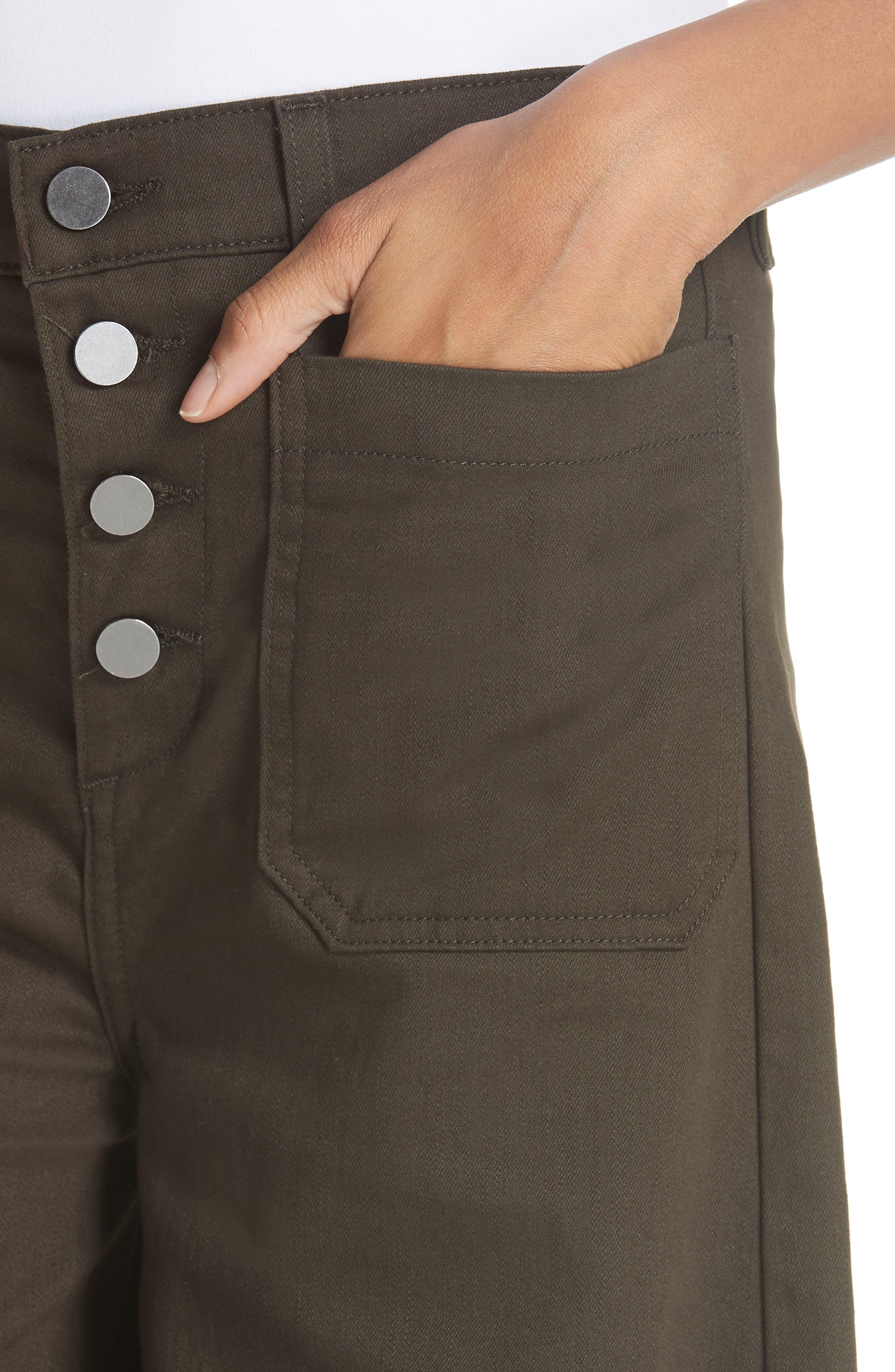 Carmine High Waist Wide Leg Crop Jeans,                             Alternate thumbnail 4, color,                             COMBAT