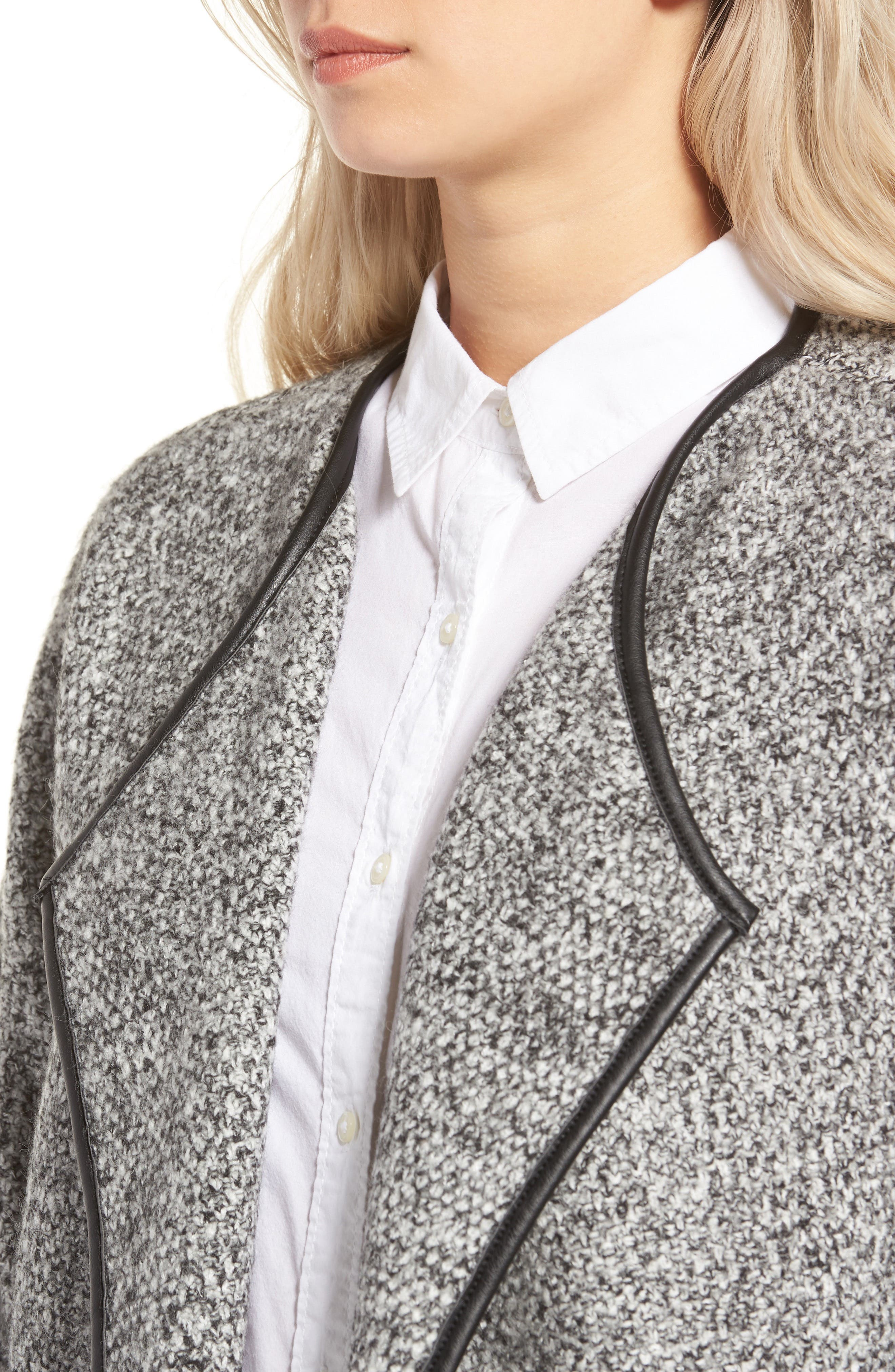 ASTR THE LABEL,                             ASTR Drape Front Sweater Jacket,                             Alternate thumbnail 4, color,                             001