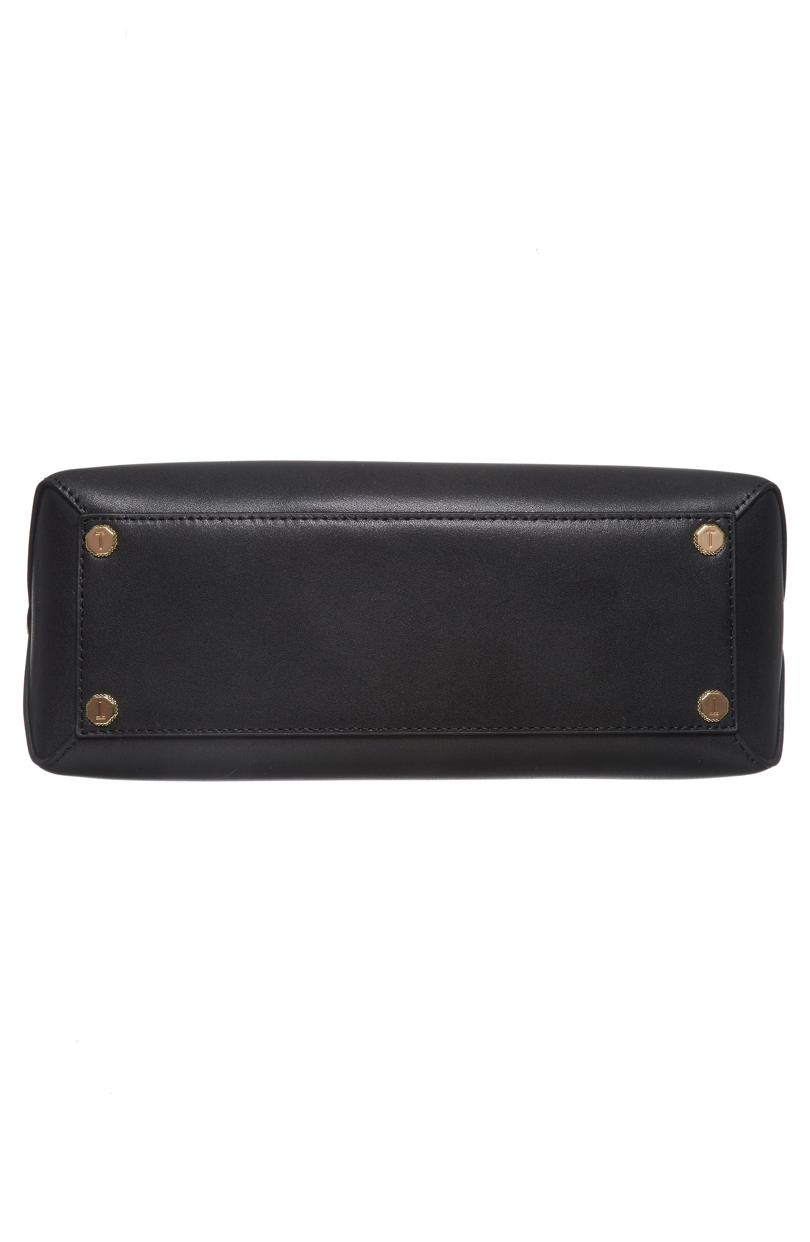Taymar - Studded Edge Lady Bag Leather Top Handle Satchel,                             Alternate thumbnail 6, color,                             001