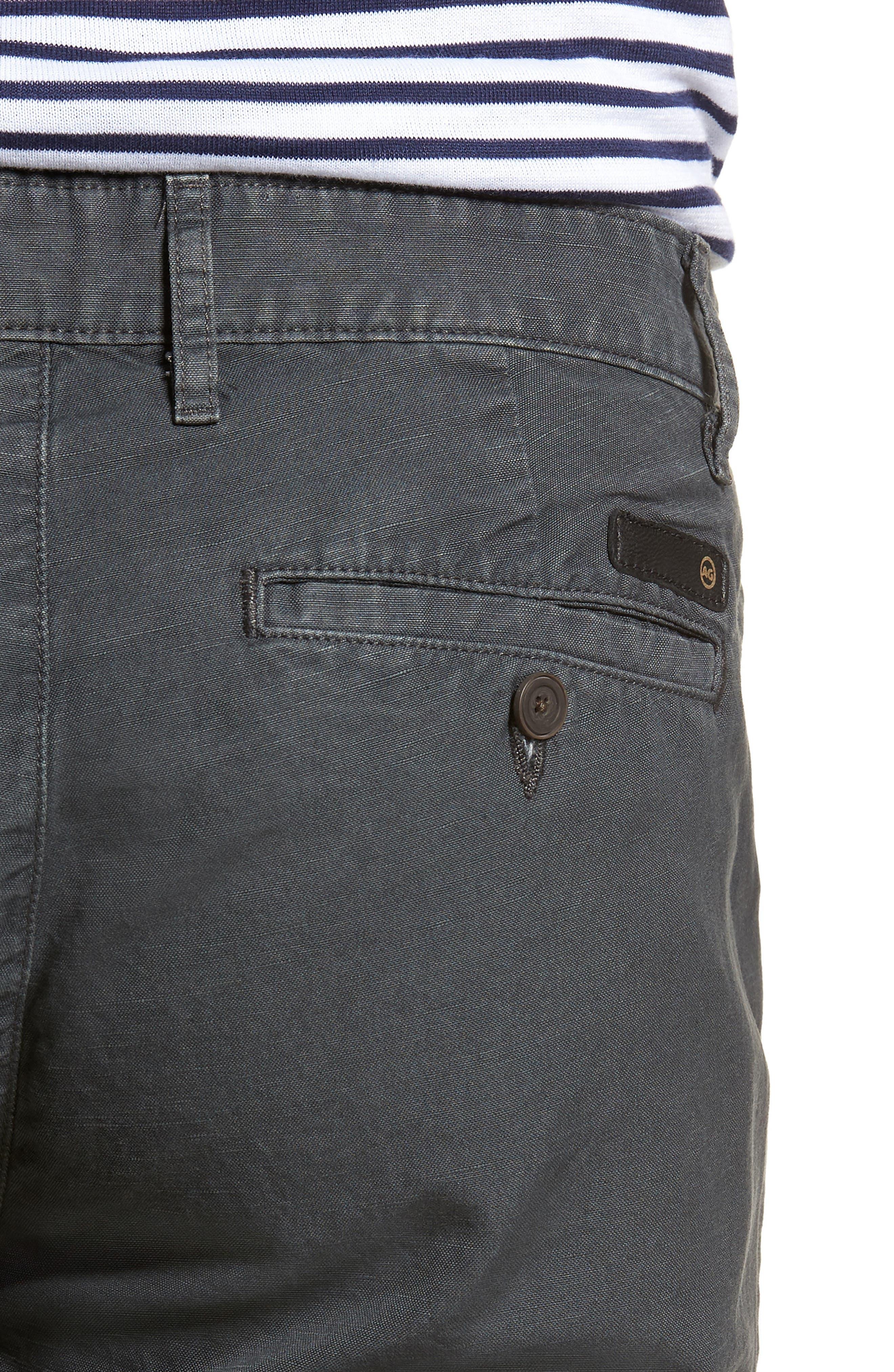 Wanderer Slim Fit Cotton & Linen Shorts,                             Alternate thumbnail 4, color,                             SULFUR SMOKE GREY