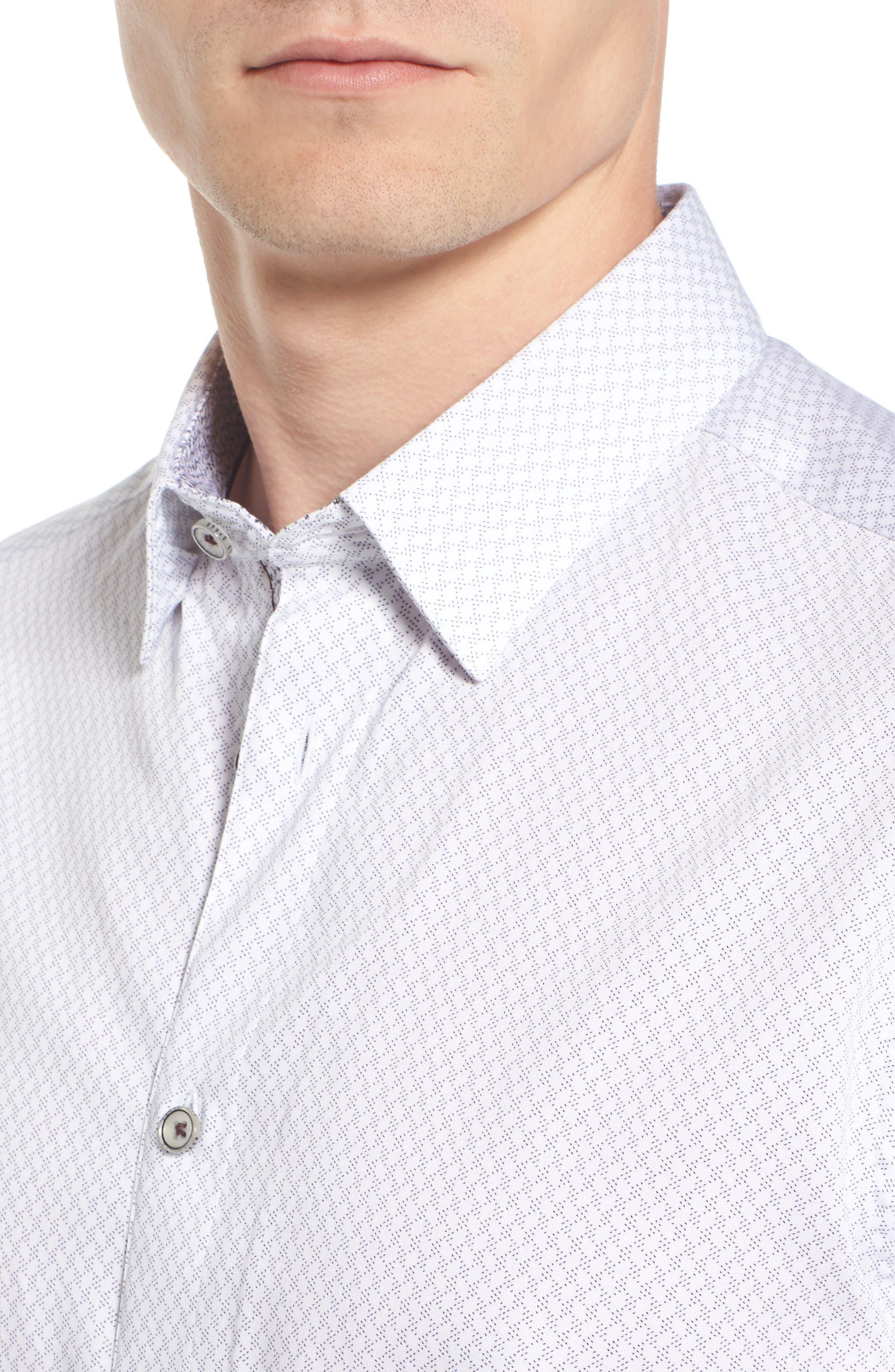 Modern Slim Fit Print Sport Shirt,                             Alternate thumbnail 4, color,                             110