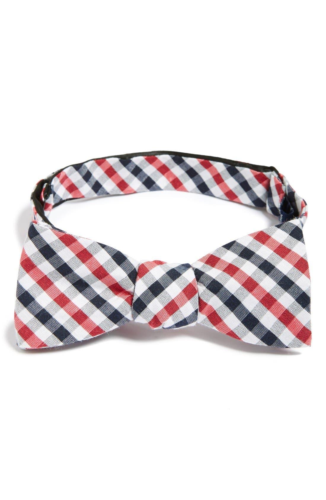 'Bloomquist' Check Silk Blend Bow Tie,                             Main thumbnail 3, color,