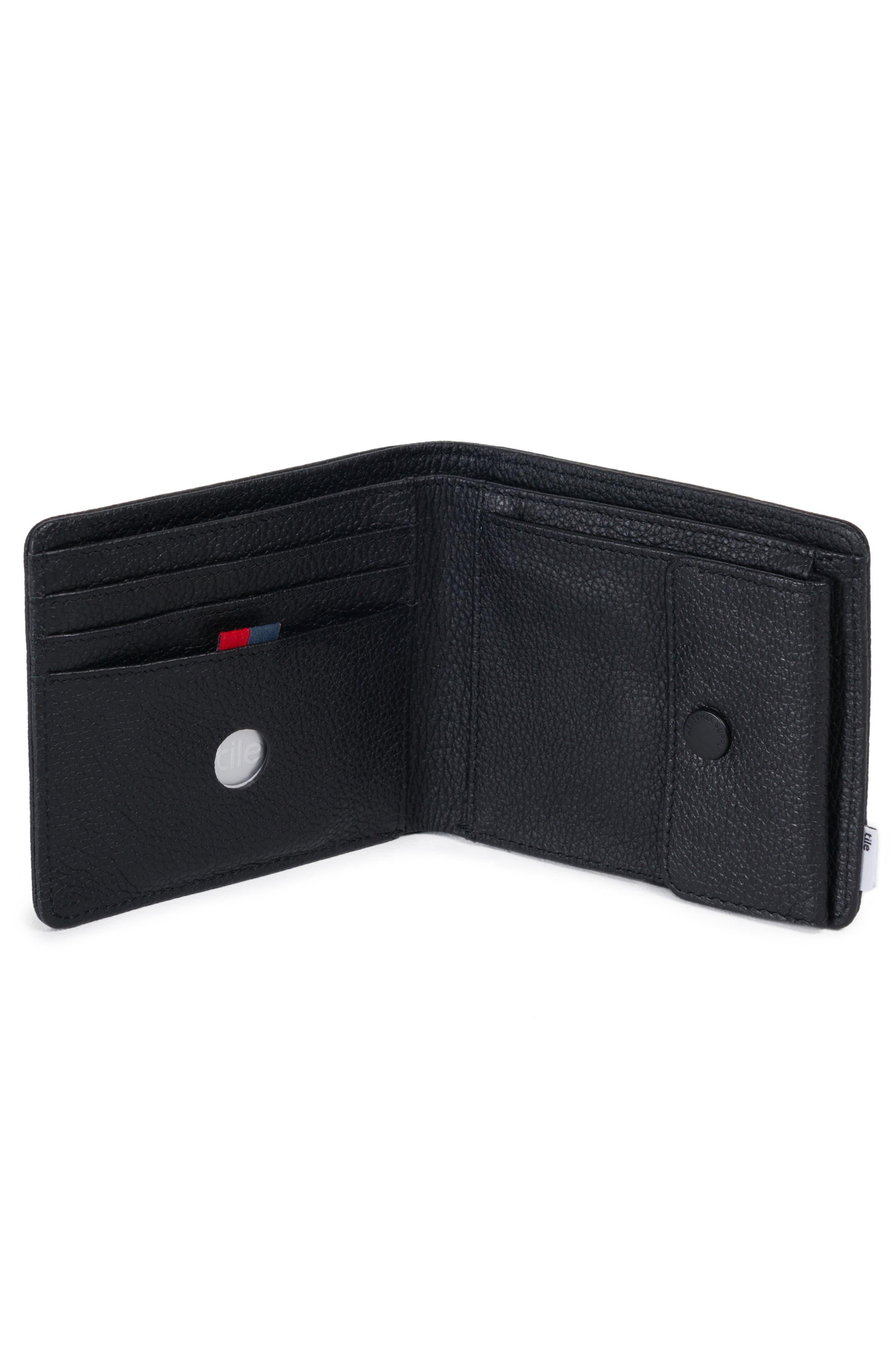 Tile Roy Leather Bifold Wallet,                             Alternate thumbnail 2, color,                             BLACK PEBBLED LEATHER