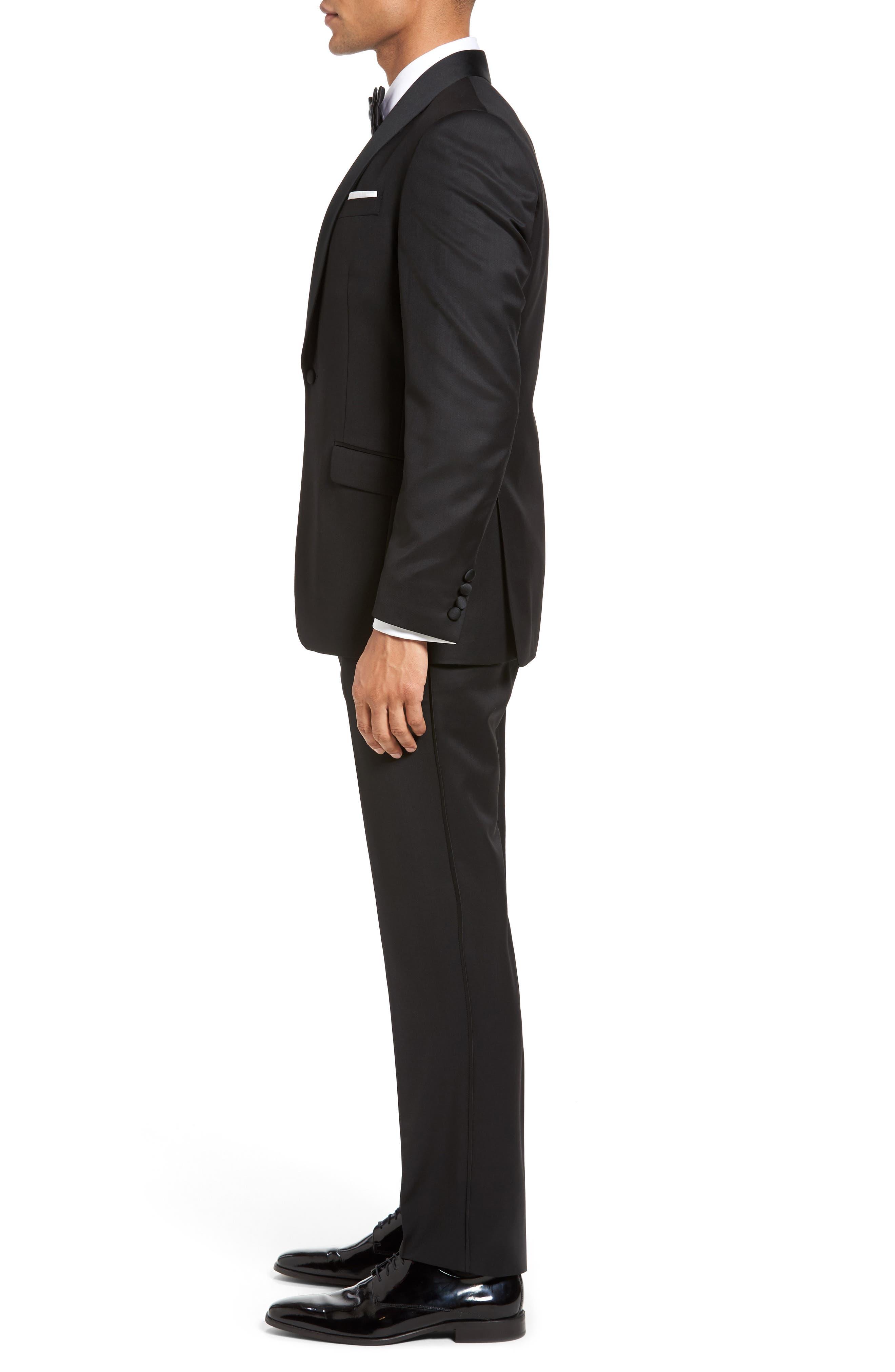 Josh Trim Fit Wool & Mohair Tuxedo,                             Alternate thumbnail 3, color,                             BLACK