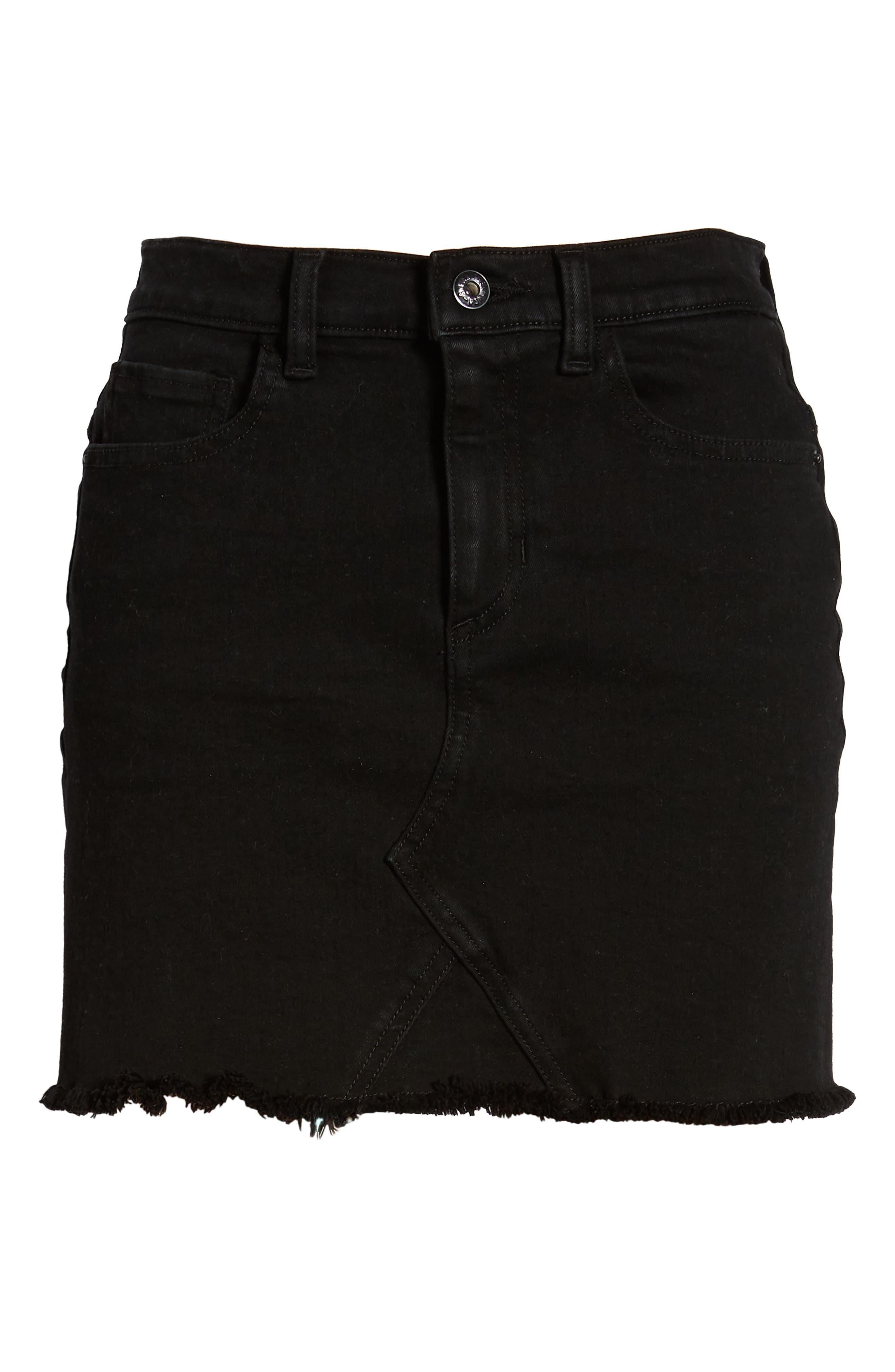 Stretch Denim Miniskirt,                             Alternate thumbnail 6, color,                             001