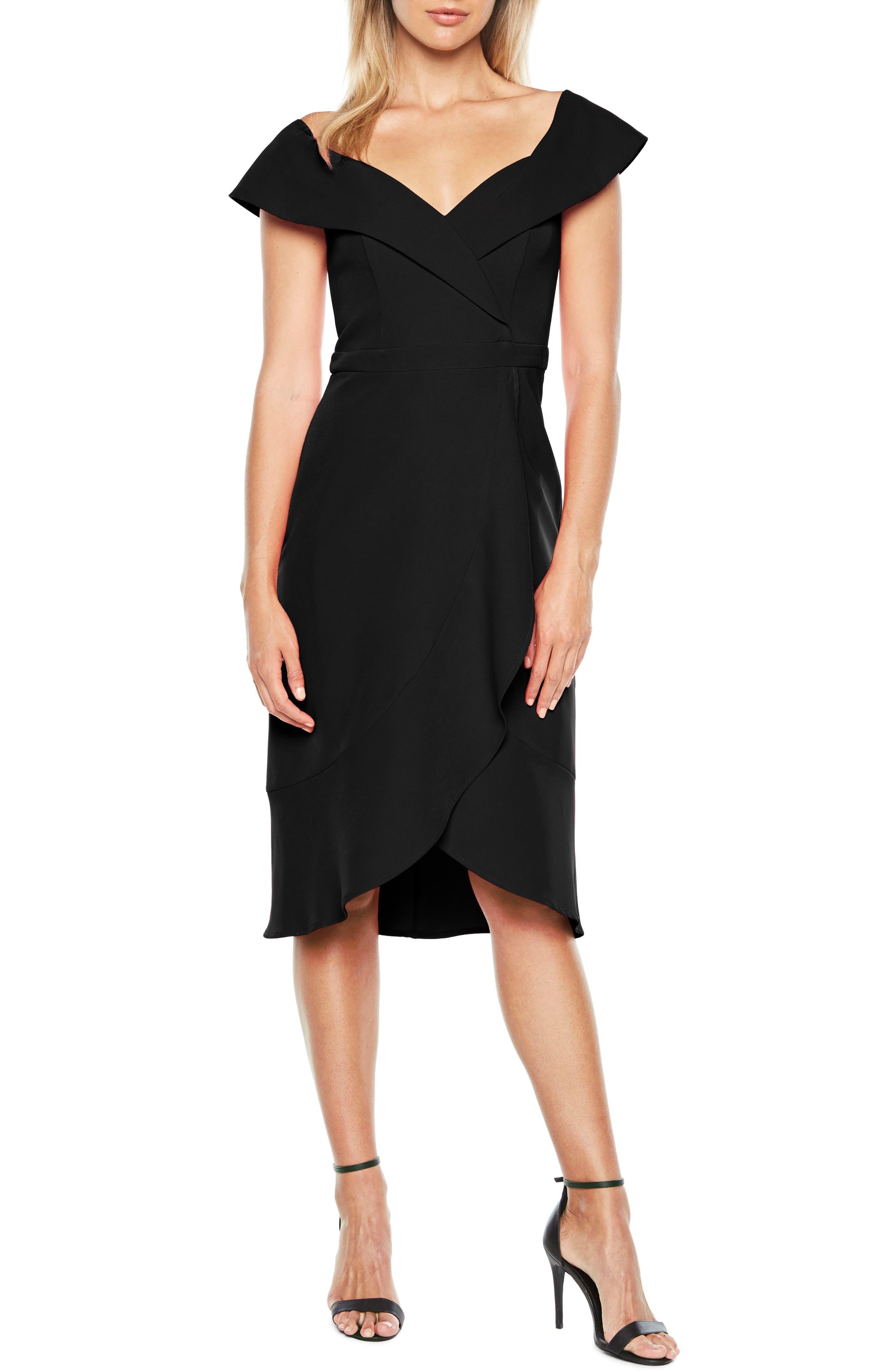 Bella Tulip Hem Dress,                         Main,                         color, BLACK