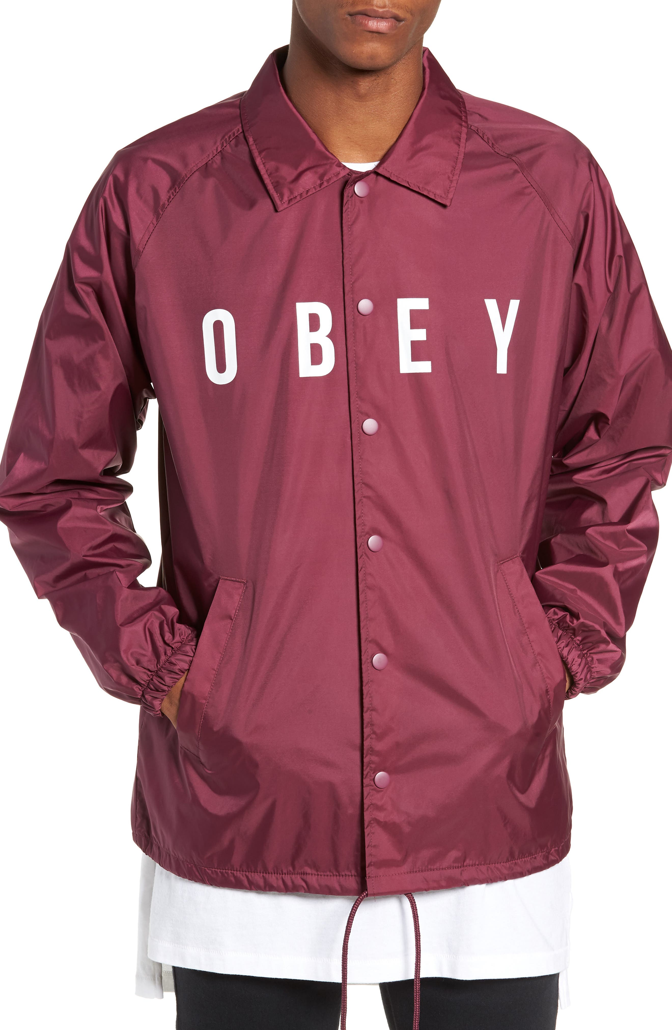 Anyway Snap Front Hooded Coach's Jacket,                             Alternate thumbnail 4, color,                             RASPBERRY