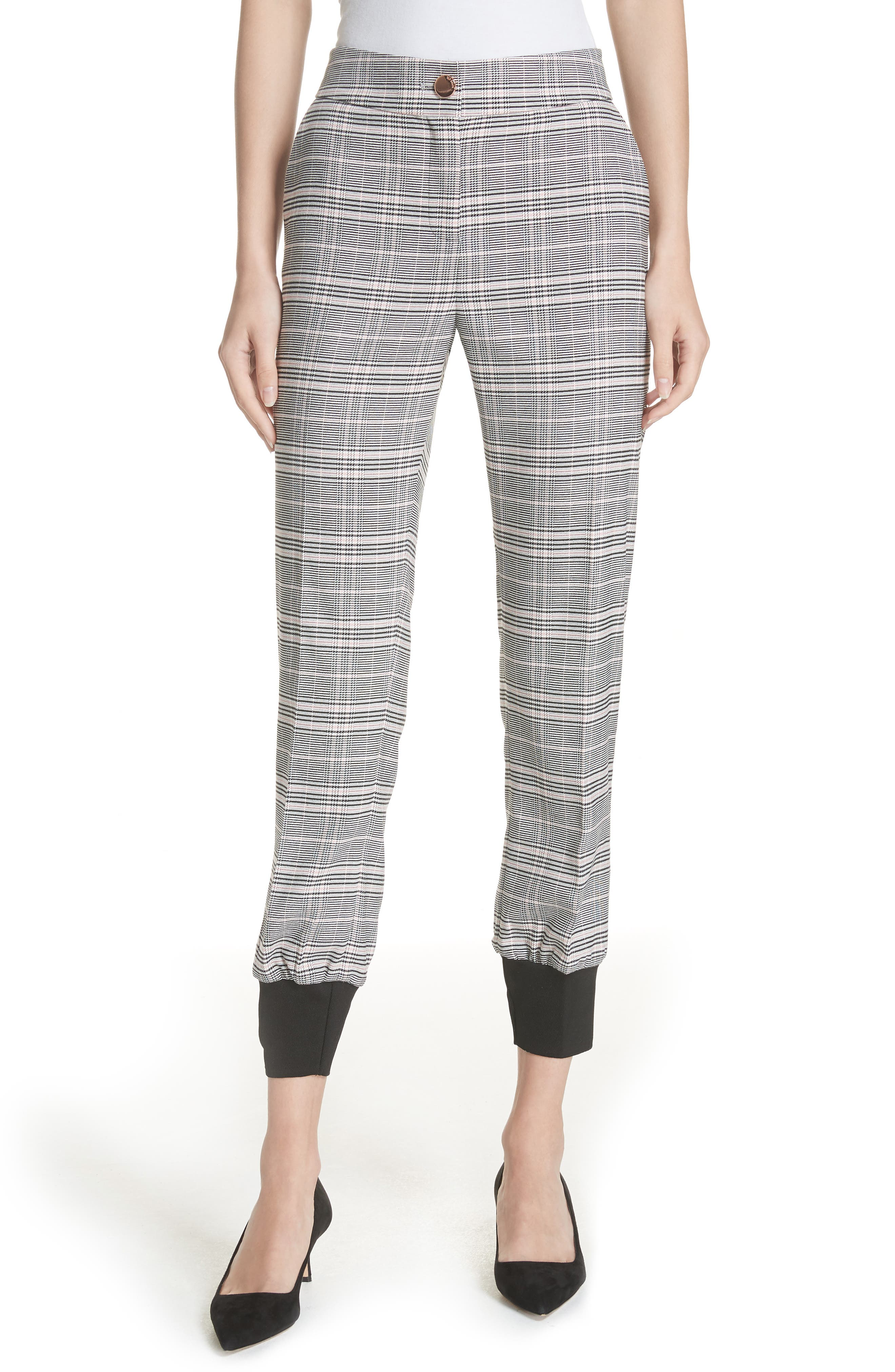 Ted Working Title Kimmt Check Plaid Trousers,                             Main thumbnail 1, color,                             GREY
