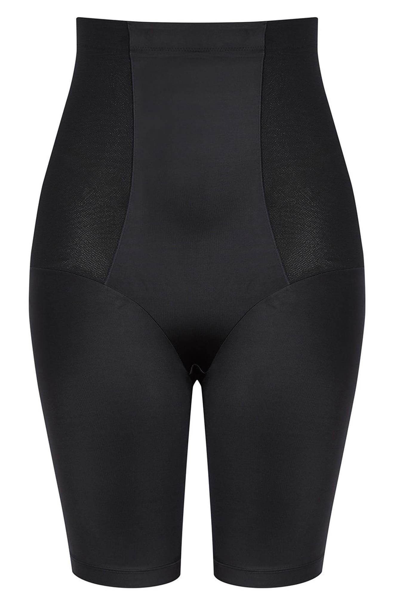 Smooth & Chic Thigh Shaper,                             Alternate thumbnail 3, color,                             BLACK