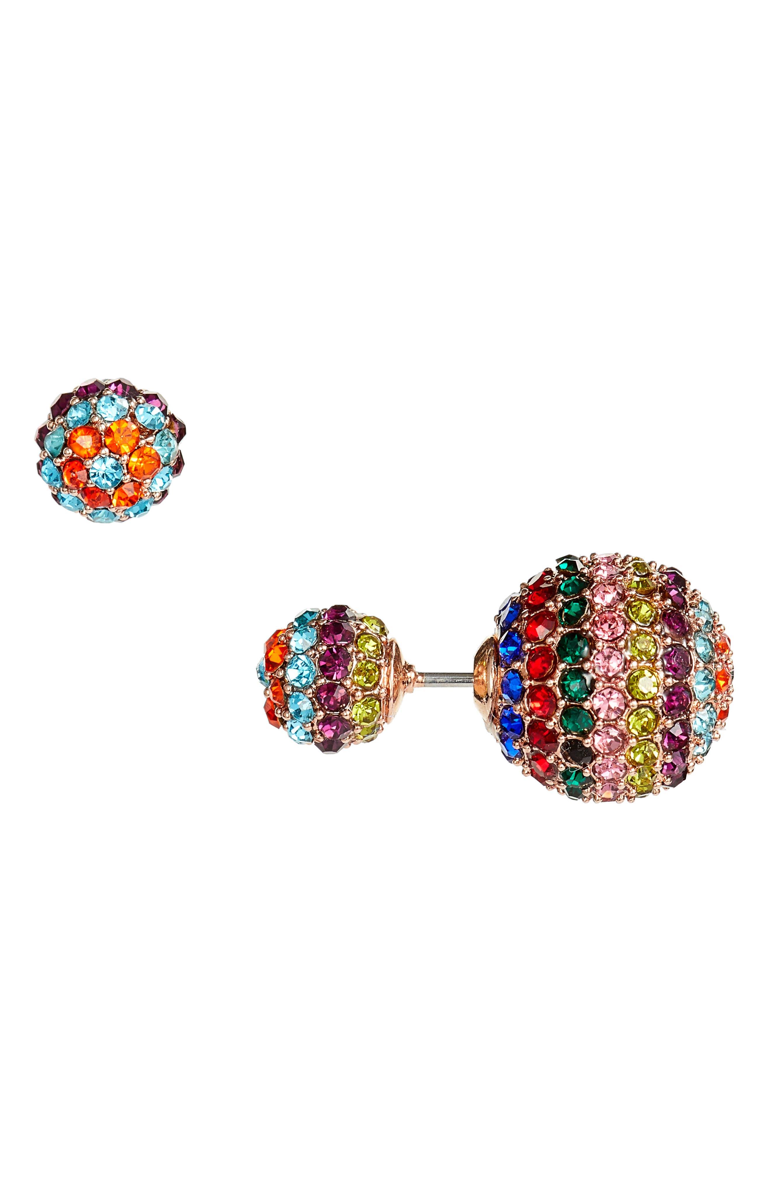 Crystal Embellished Front/Back Studs,                         Main,                         color, RAINBOW