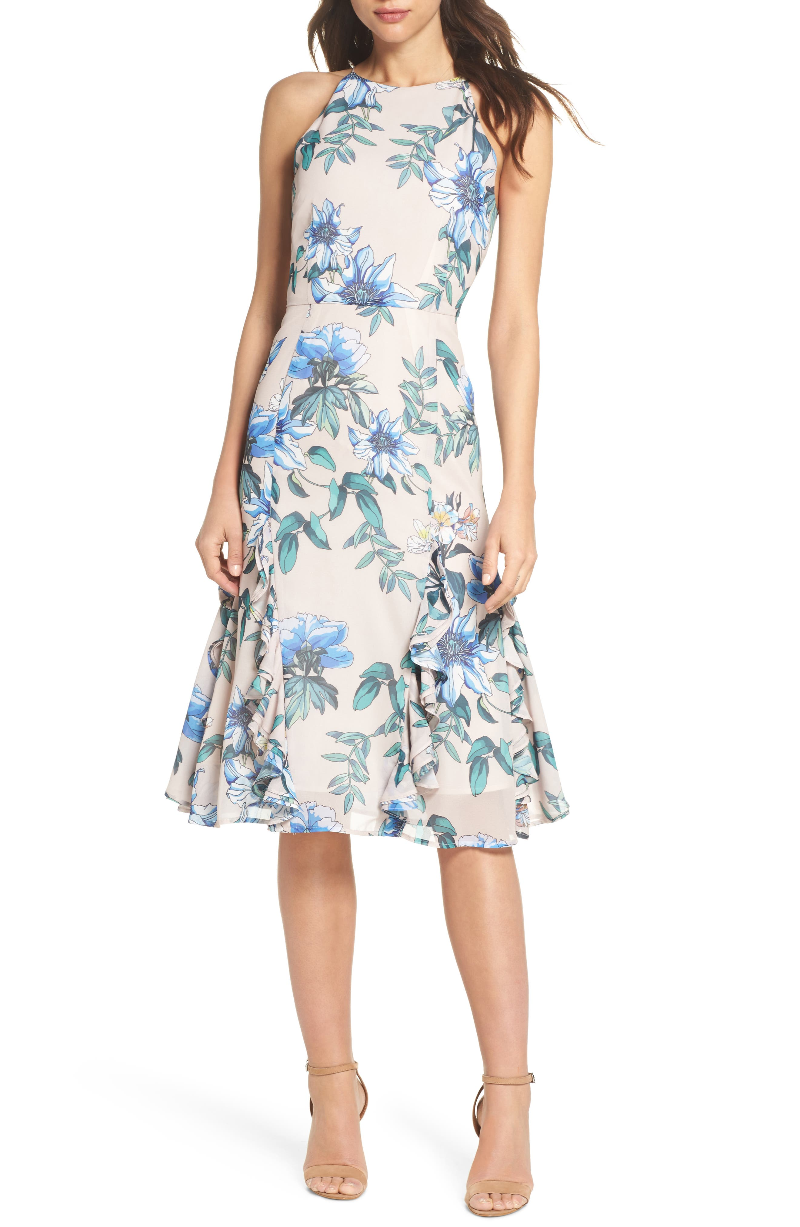 Floral Courtyard Midi Dress,                             Main thumbnail 1, color,