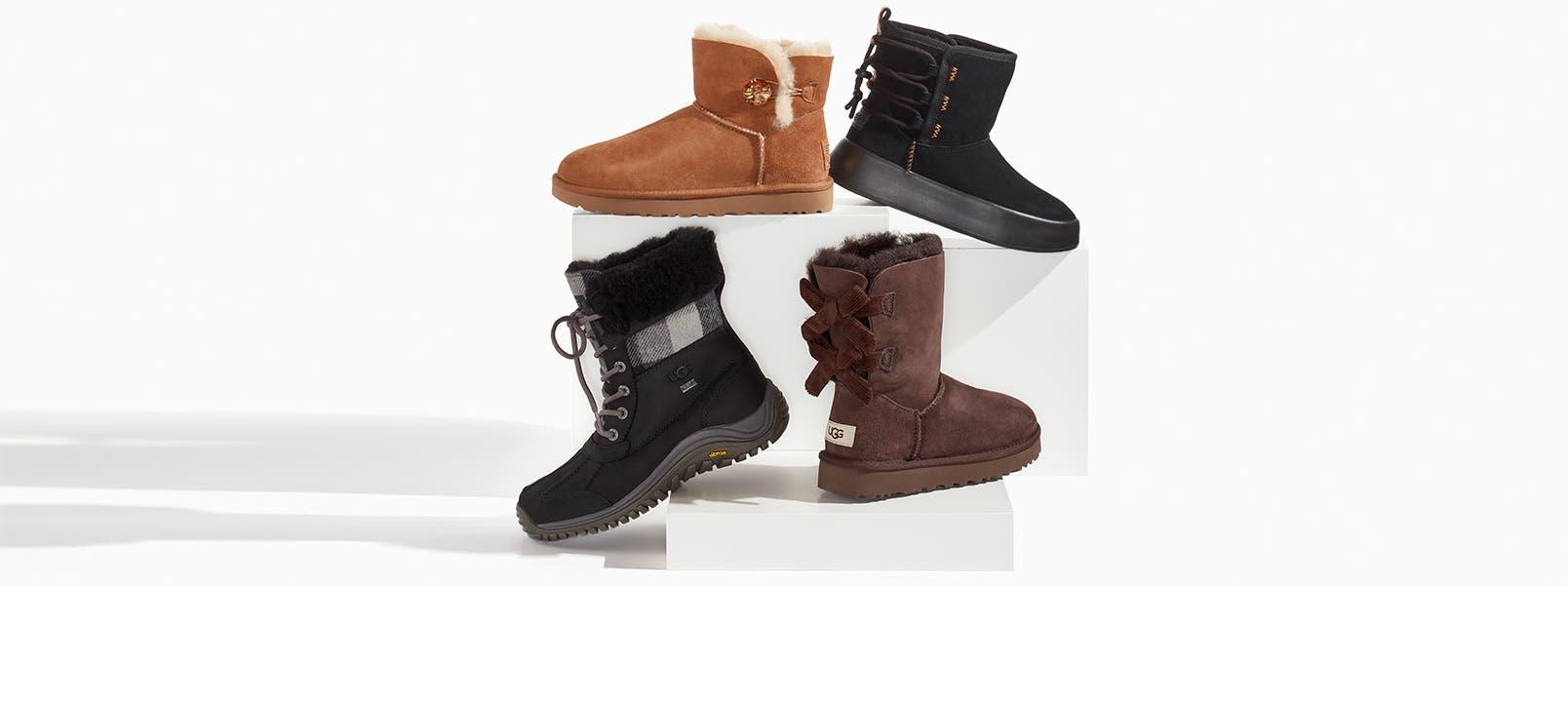 An assortment of winter boots.