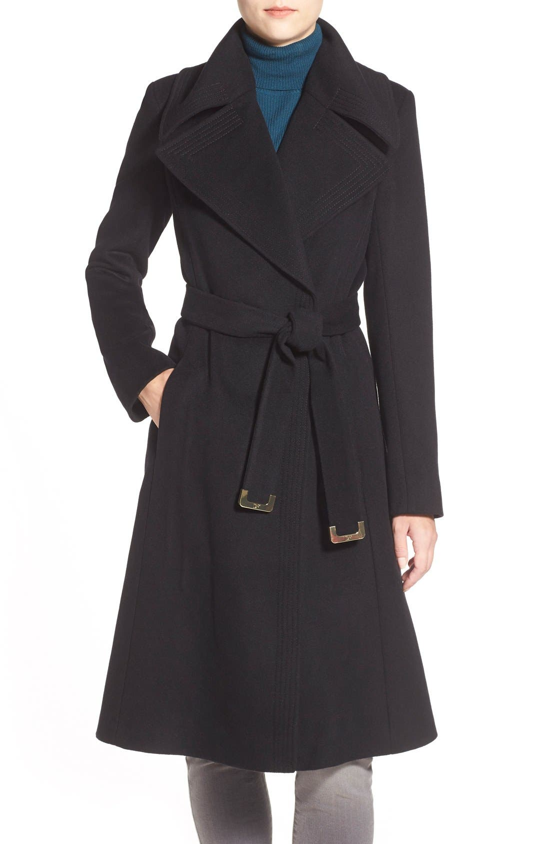 DIANE VON FURSTENBERG Long Wool Blend Wrap Coat, Main, color, 001