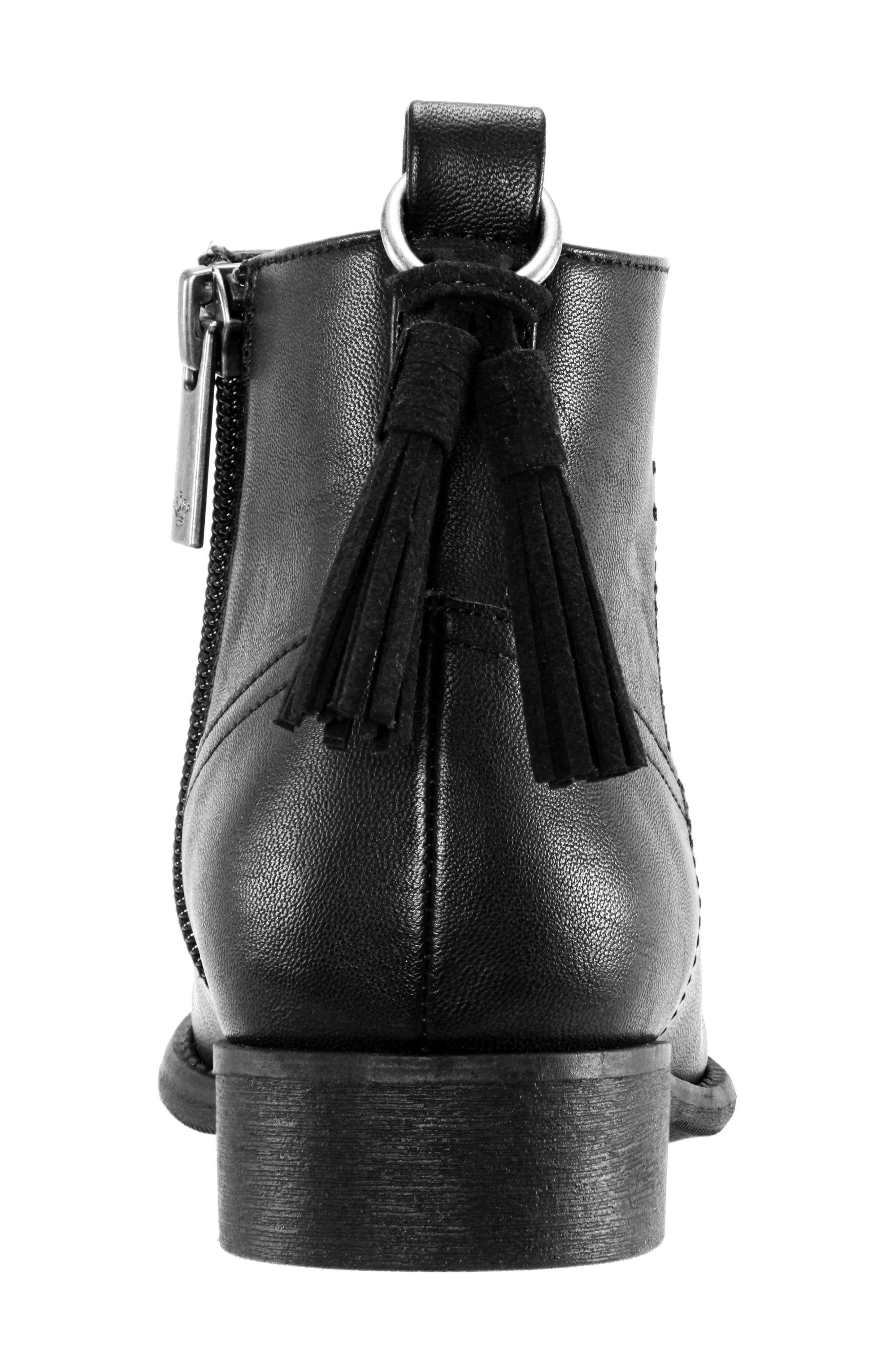 Emerie Block Heel Bootie,                             Alternate thumbnail 7, color,                             BLACK SMOOTH