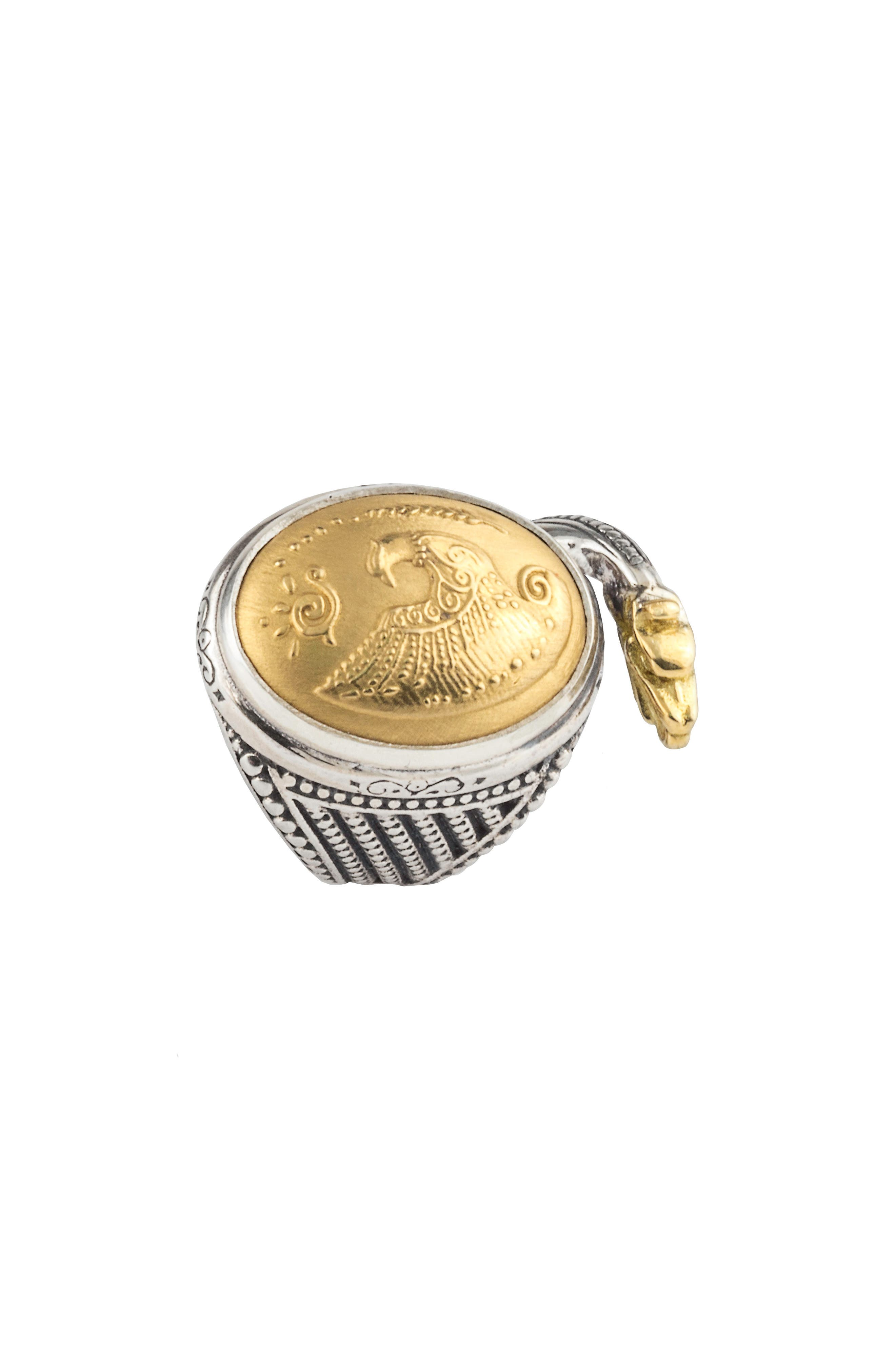 Gaia Dome Ring,                             Alternate thumbnail 3, color,                             SILVER/ GOLD