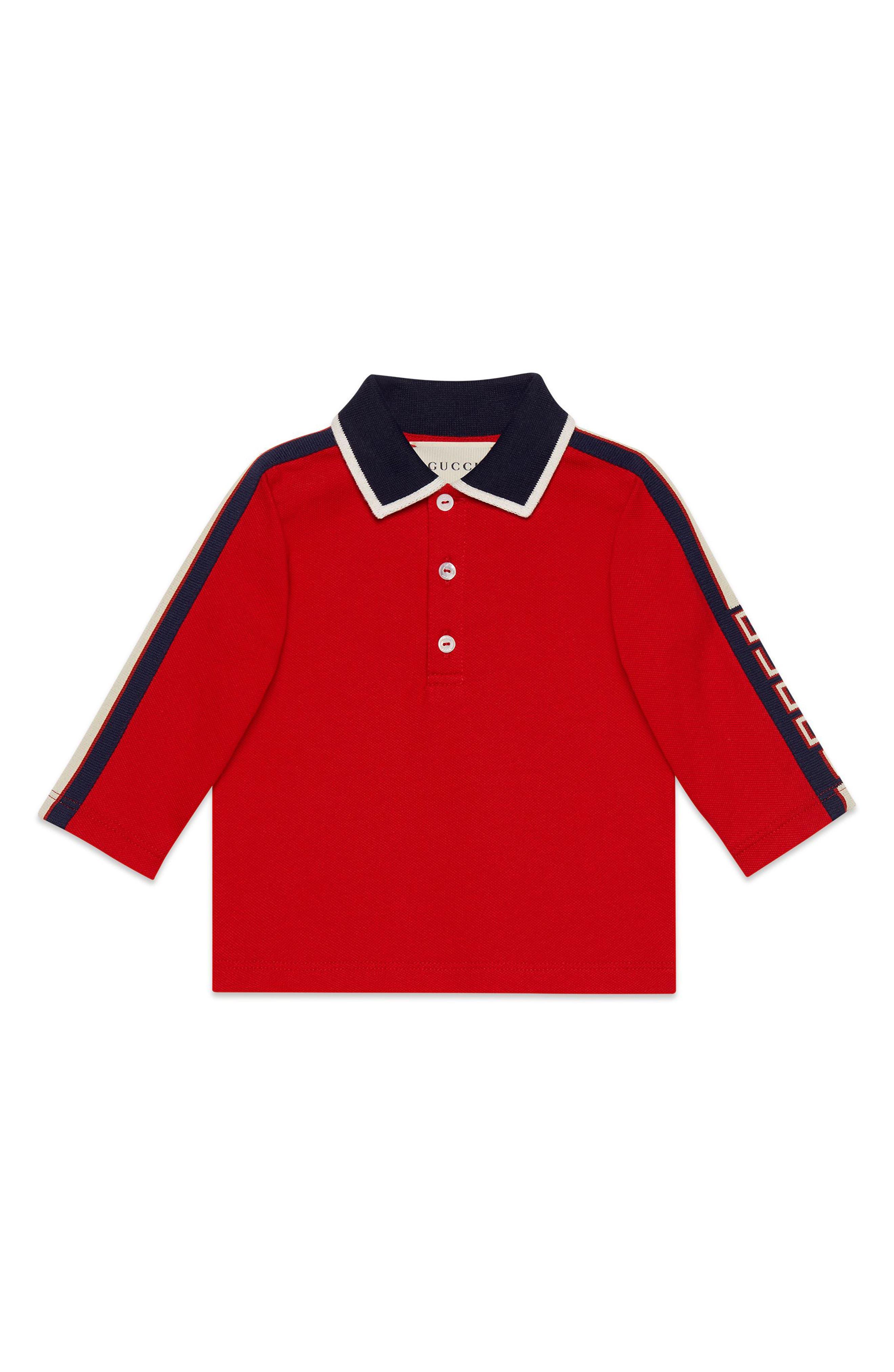 Infant Boys Gucci Long Sleeve Stripe Cotton Pique Polo Shirt Size 912M  Red